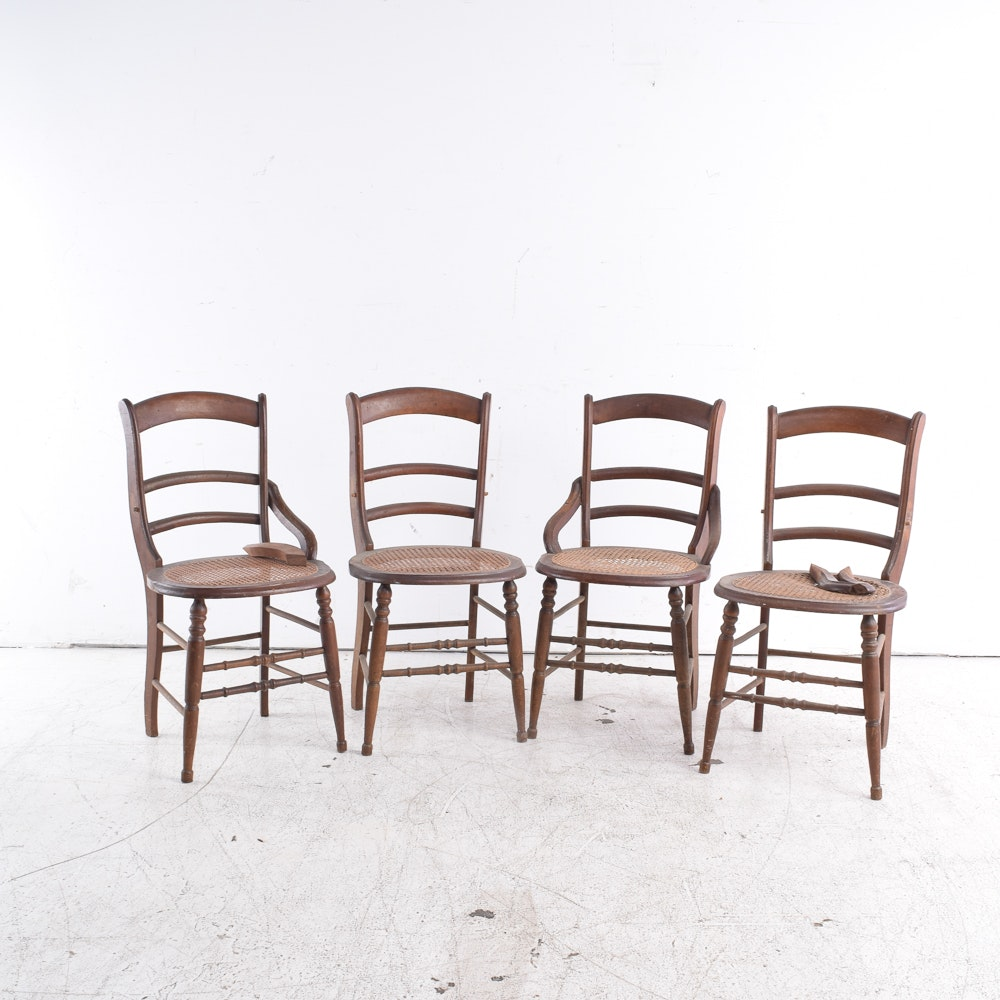 Vintage Cane Seat Side Chairs