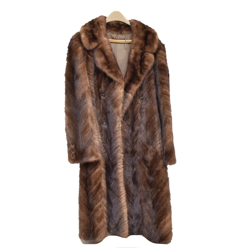 Vintage Herringbone Mink Full Length Coat