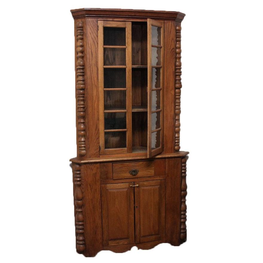 Antique Oak Corner Cabinet ... - Antique Oak Corner Cabinet : EBTH