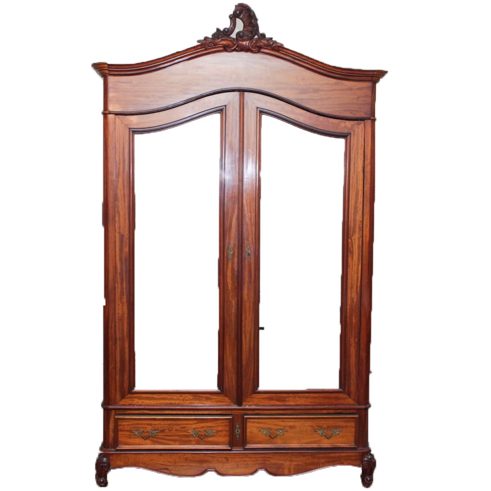 Antique Louis XV Style Mahogany Veneer Armoire