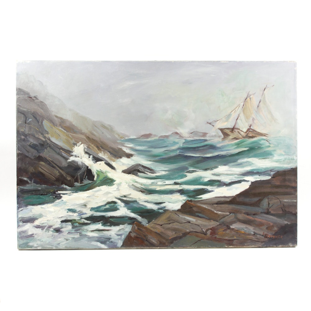 "Judge Ed Hummer Oil Painting on Canvas ""Fog and Surf"""