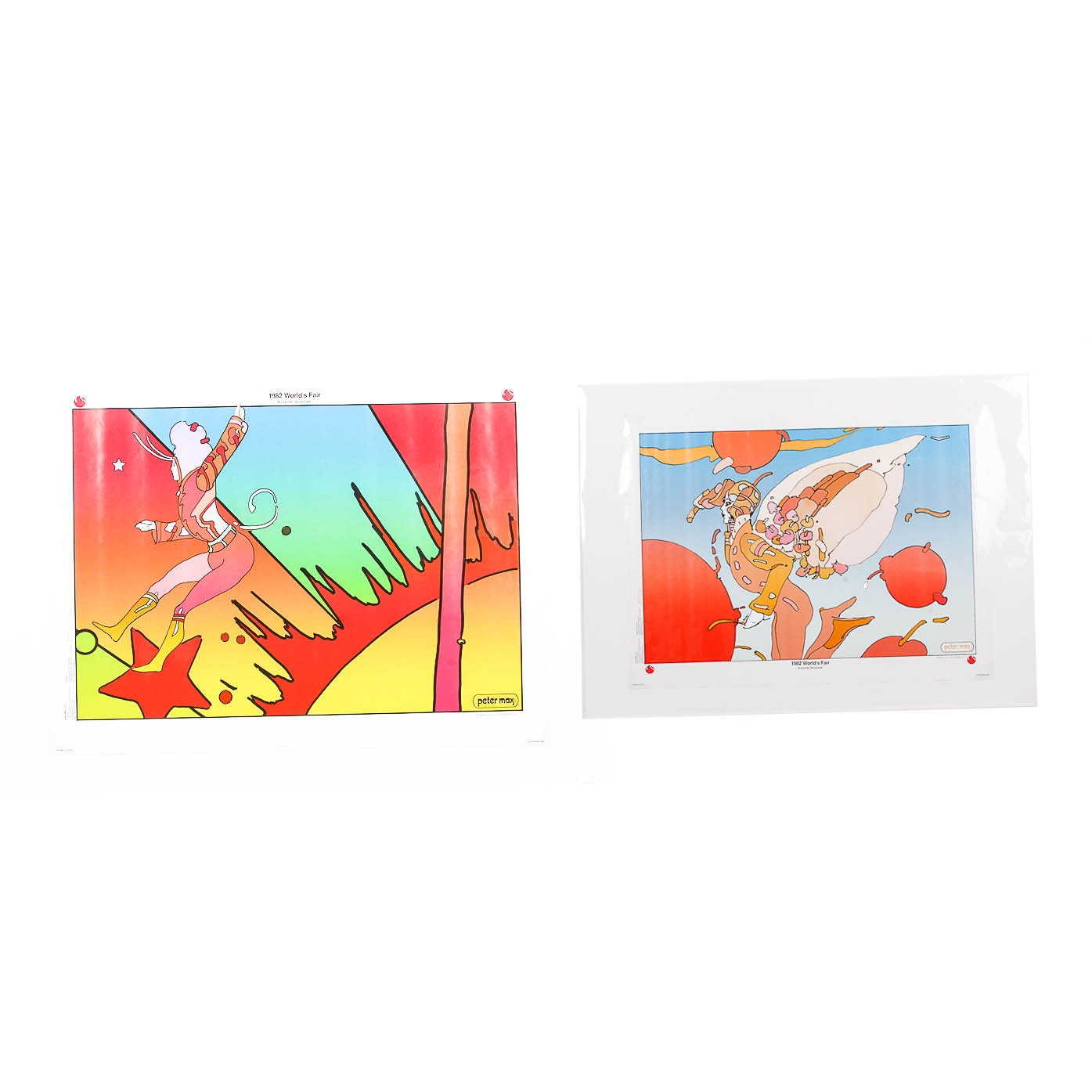 "Peter Max  Pop Art Lithograph Posters Titled  ""Cosmic Trapeze"" and ""Floating"""
