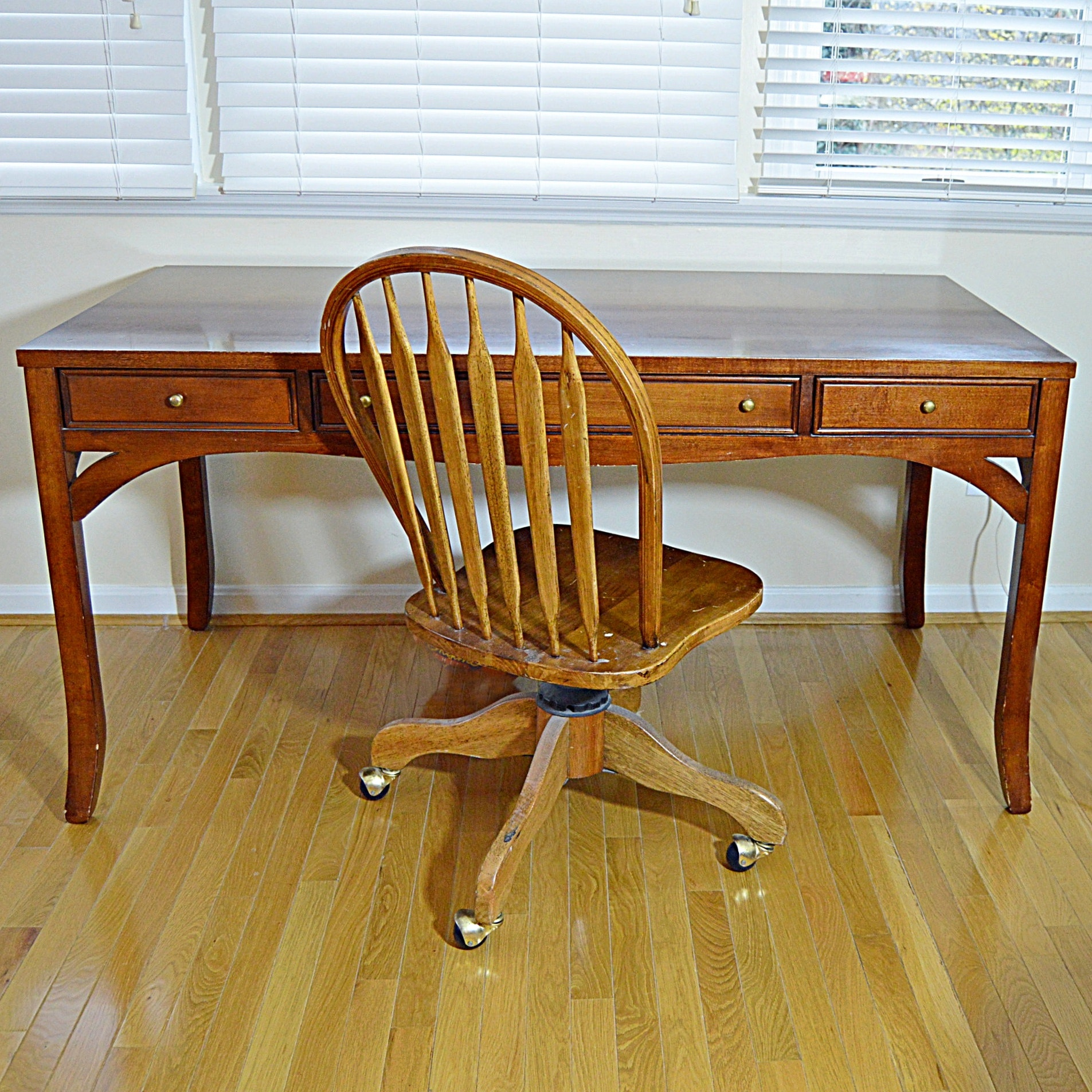 American Signature Mahogany Desk and Windsor Style Desk Chair