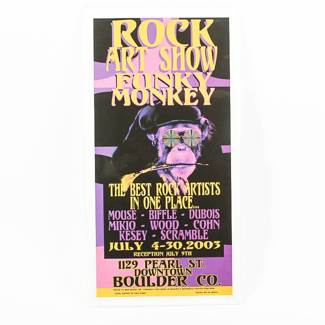 Poster for the Funky Monkey Rock Art Show in Boulder Colorado Designed by Biffle