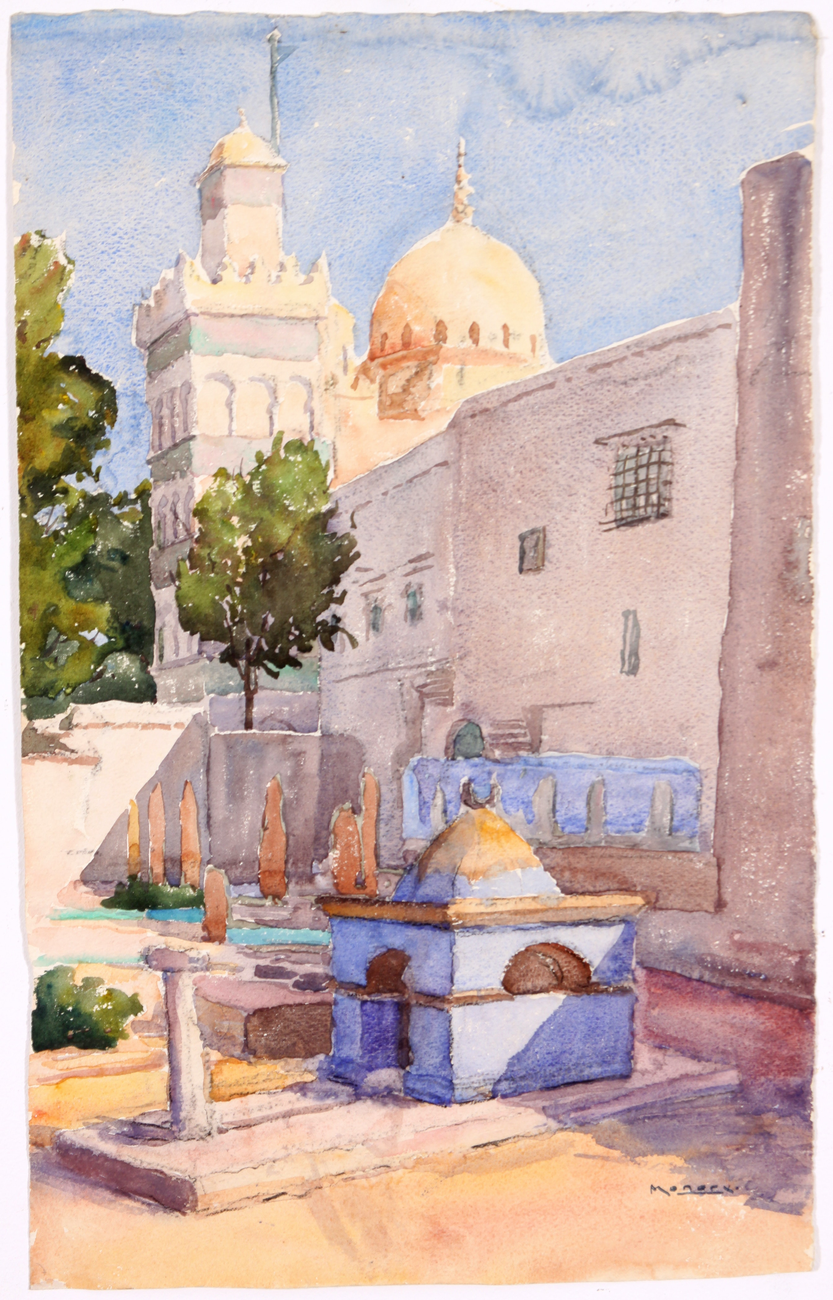 Original c. 1930s French Watercolor by Raoul Monory