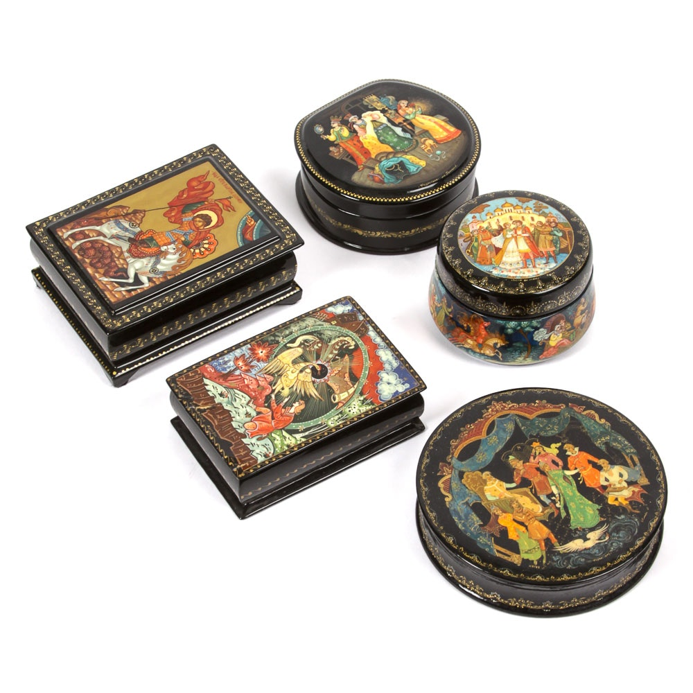 Five Black Lacquer Legend and Fairy Tale Boxes