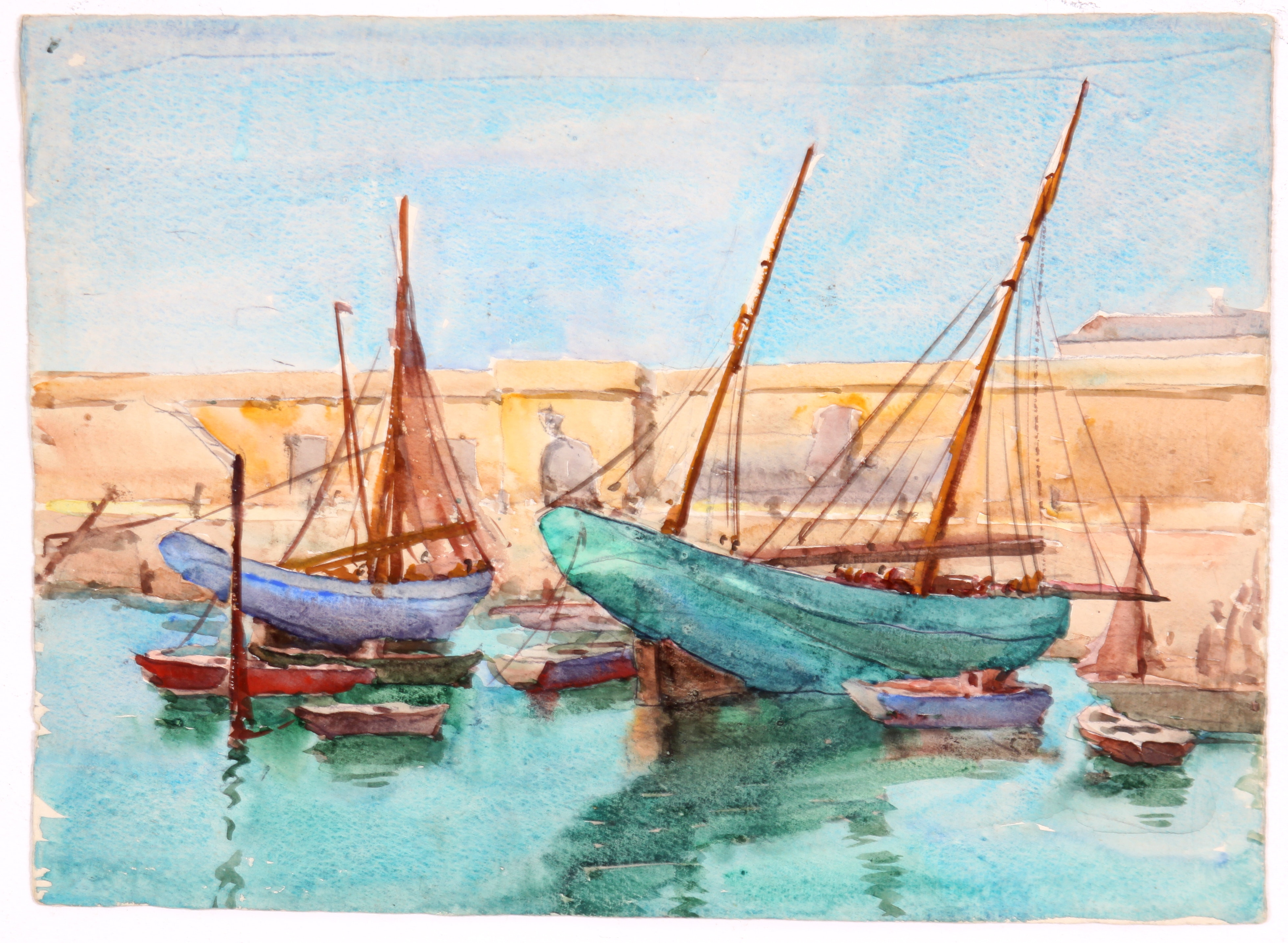 Original Double Sided Watercolor by Raoul Monory