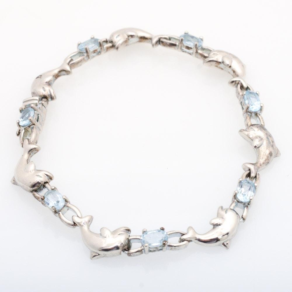 Sterling Silver Blue Topaz Dolphin Link Bracelet