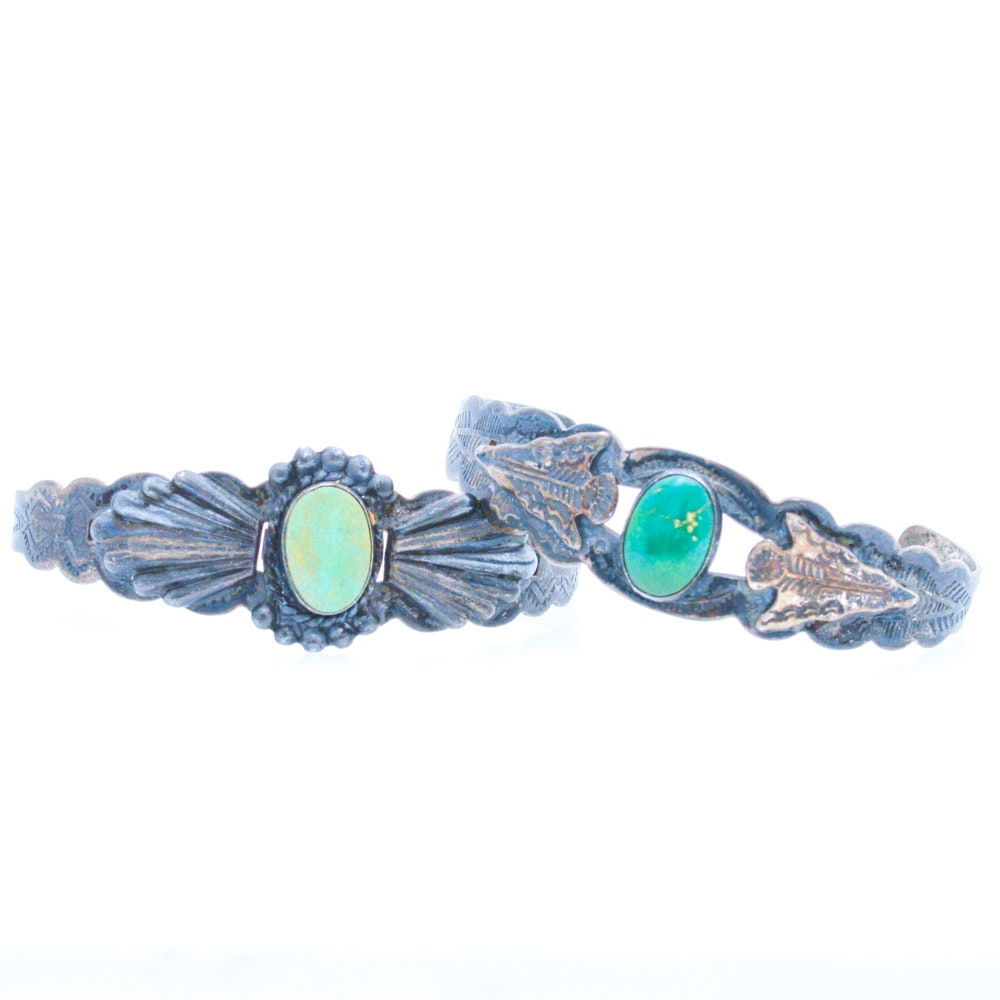 Coin Silver Turquoise Native American Inspired Cuffs