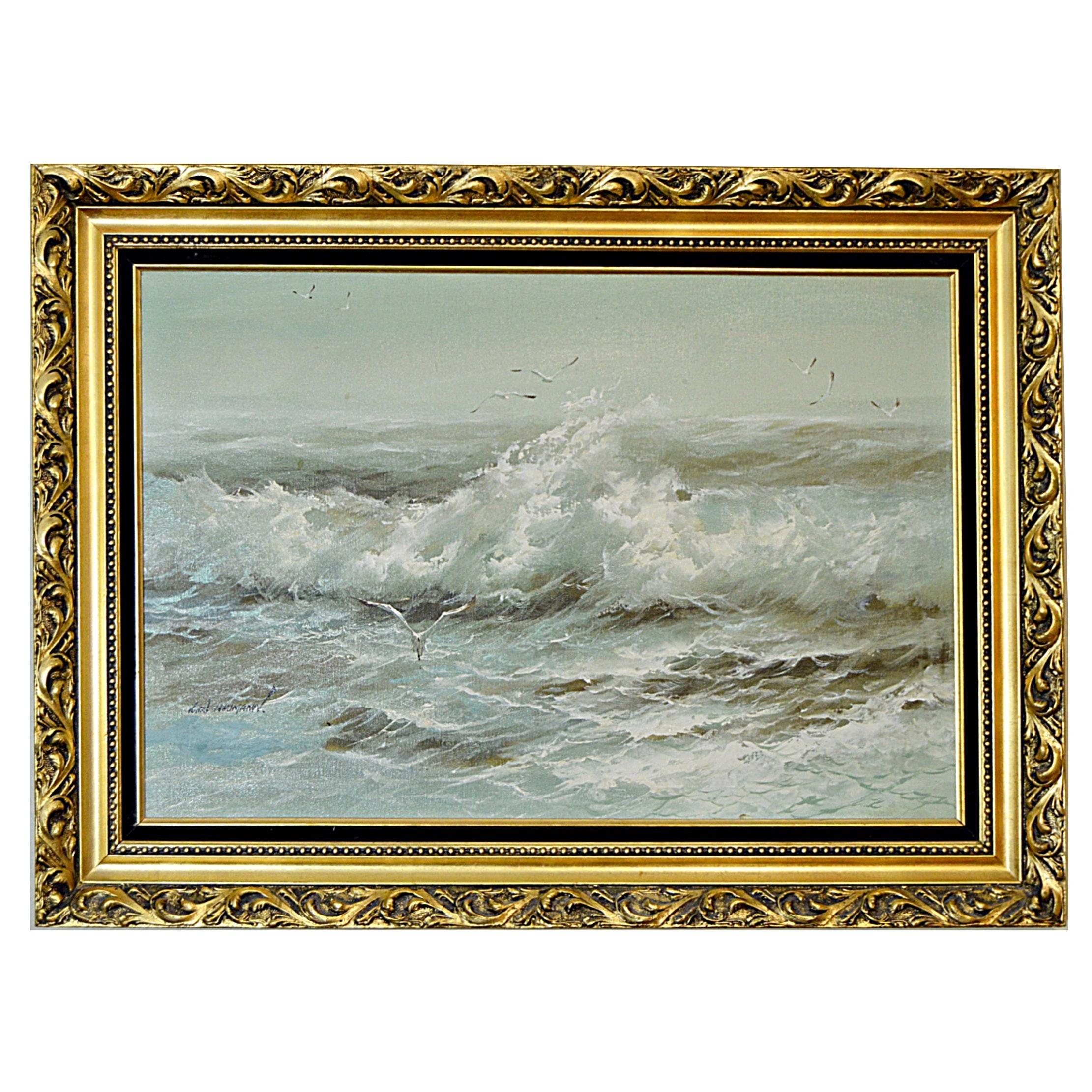 Karl Neumann Original Seascape Oil on Canvas