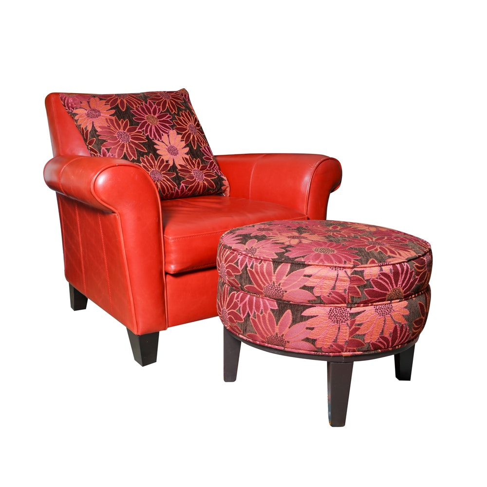 Red Leather Armchair by Max Home with Floral Ottoman