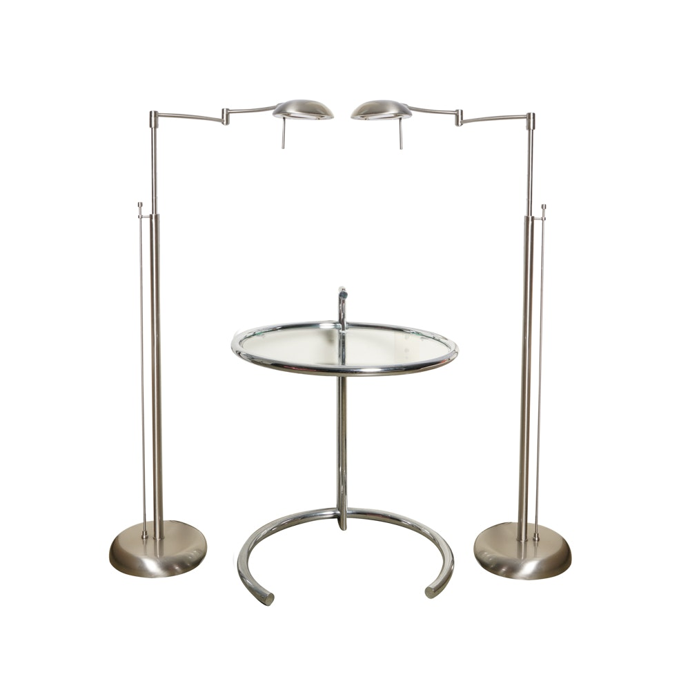 Contemporary Side Table with Two Floor Lamps