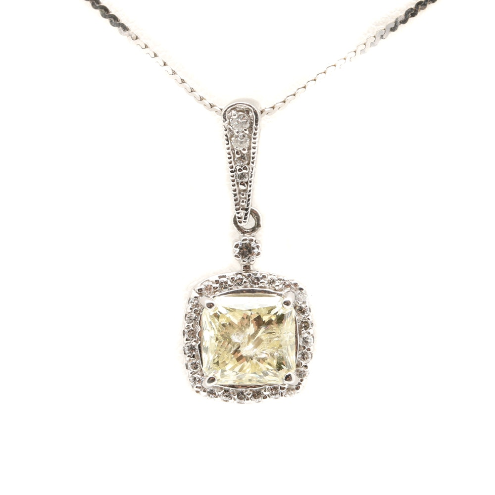 14K White Gold 2.41 CTW Diamond Pendant Necklace