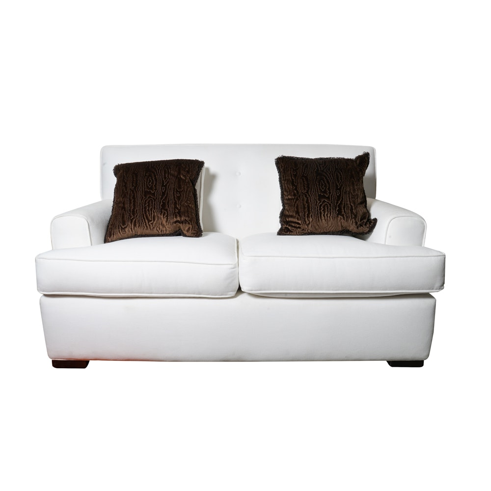 White Loveseat with Accent Pillows