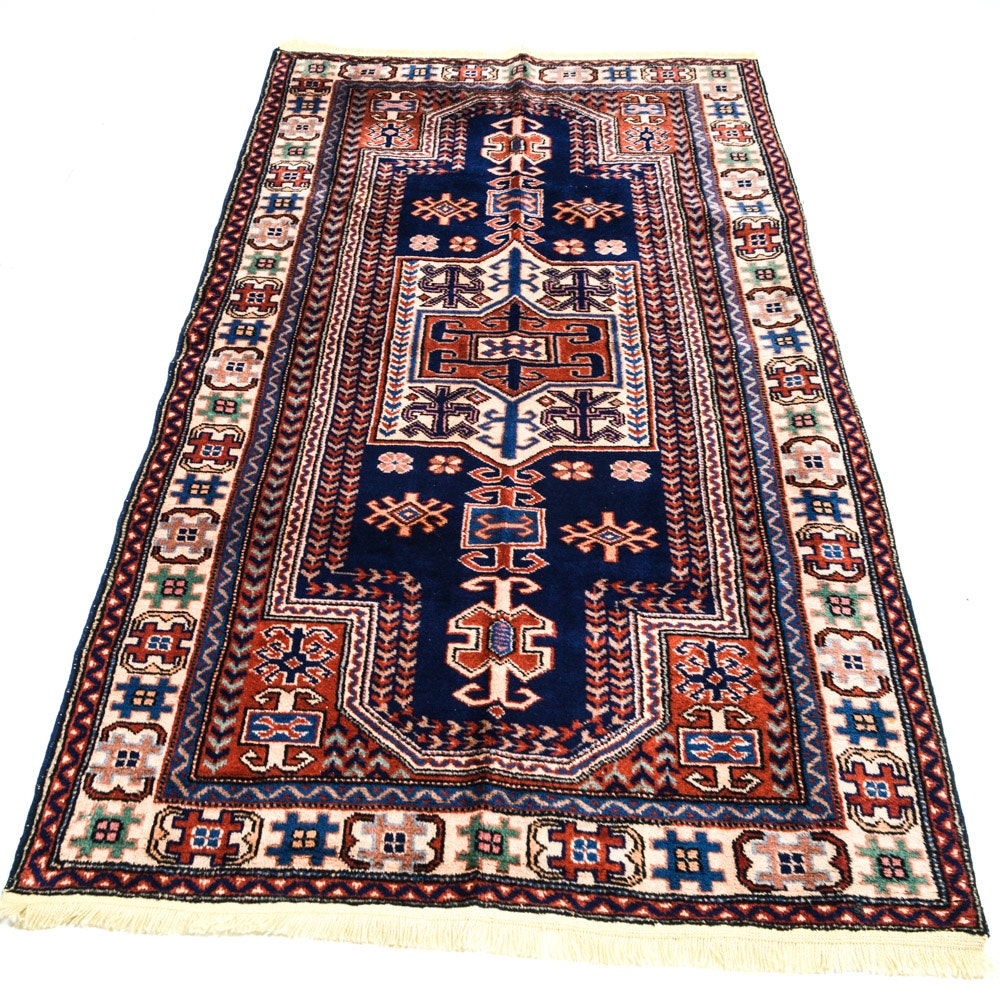 Antique Hand-Knotted Turkish Caucasian Area Rug