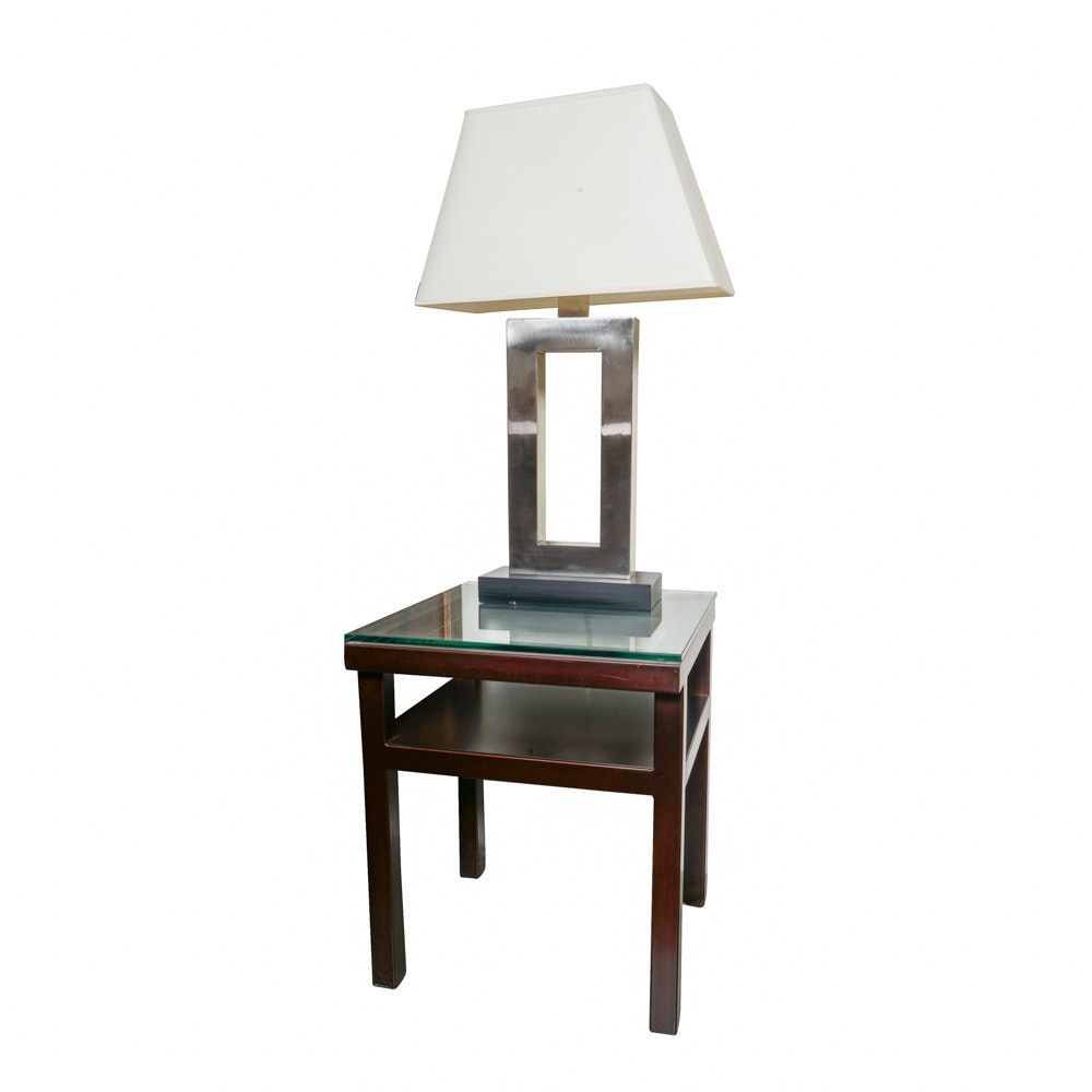 Contemporary Table Lamp and Side Table