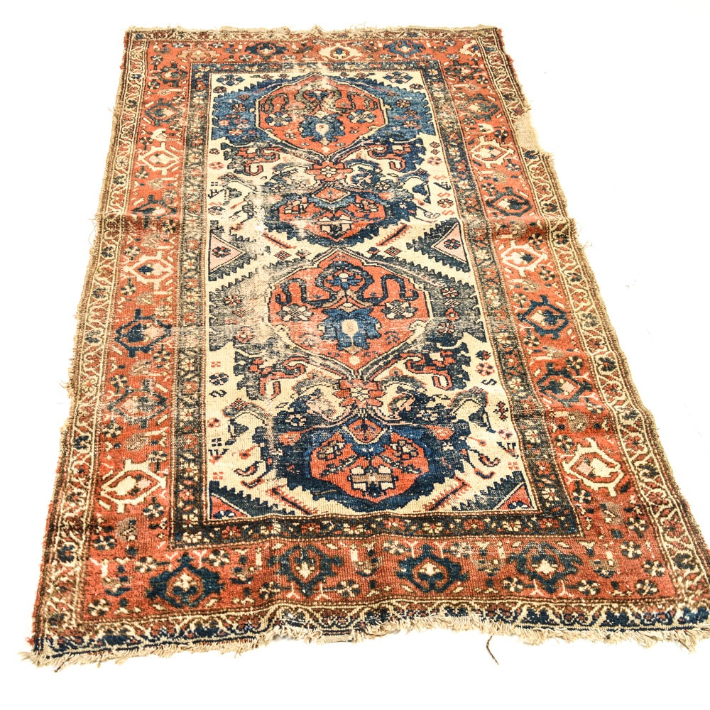 Antique Hand-Knotted Persian Malayar Area Rug