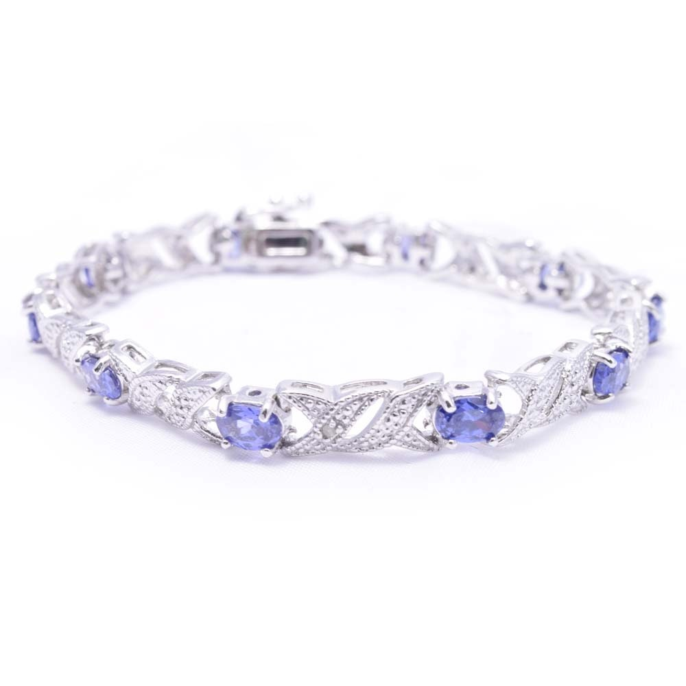 Sterling Silver 5.00 CTW Tanzanite and Diamond Bracelet
