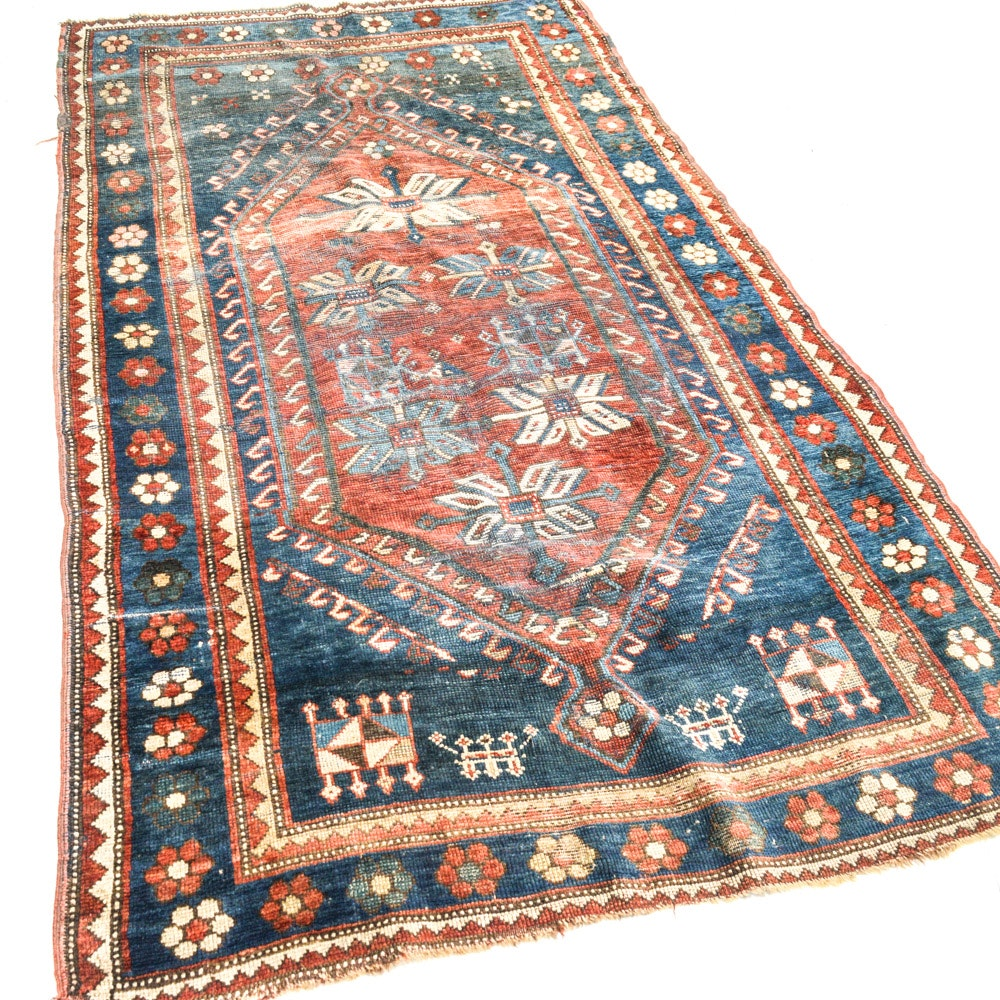 Antique Hand-Knotted Caucasian Area Rug