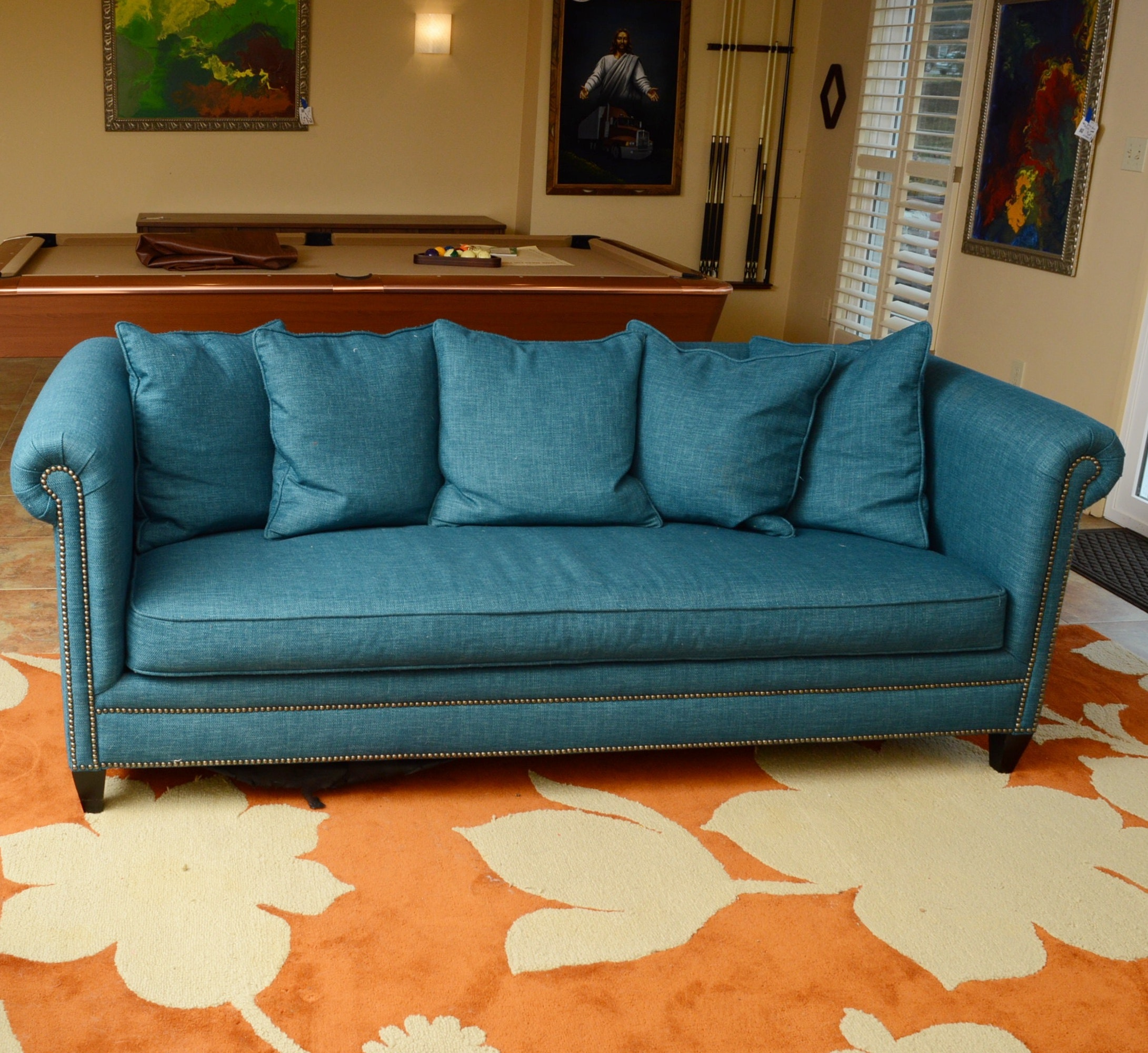 Crate & Barrel Teal Sofa with Down Back Pillows