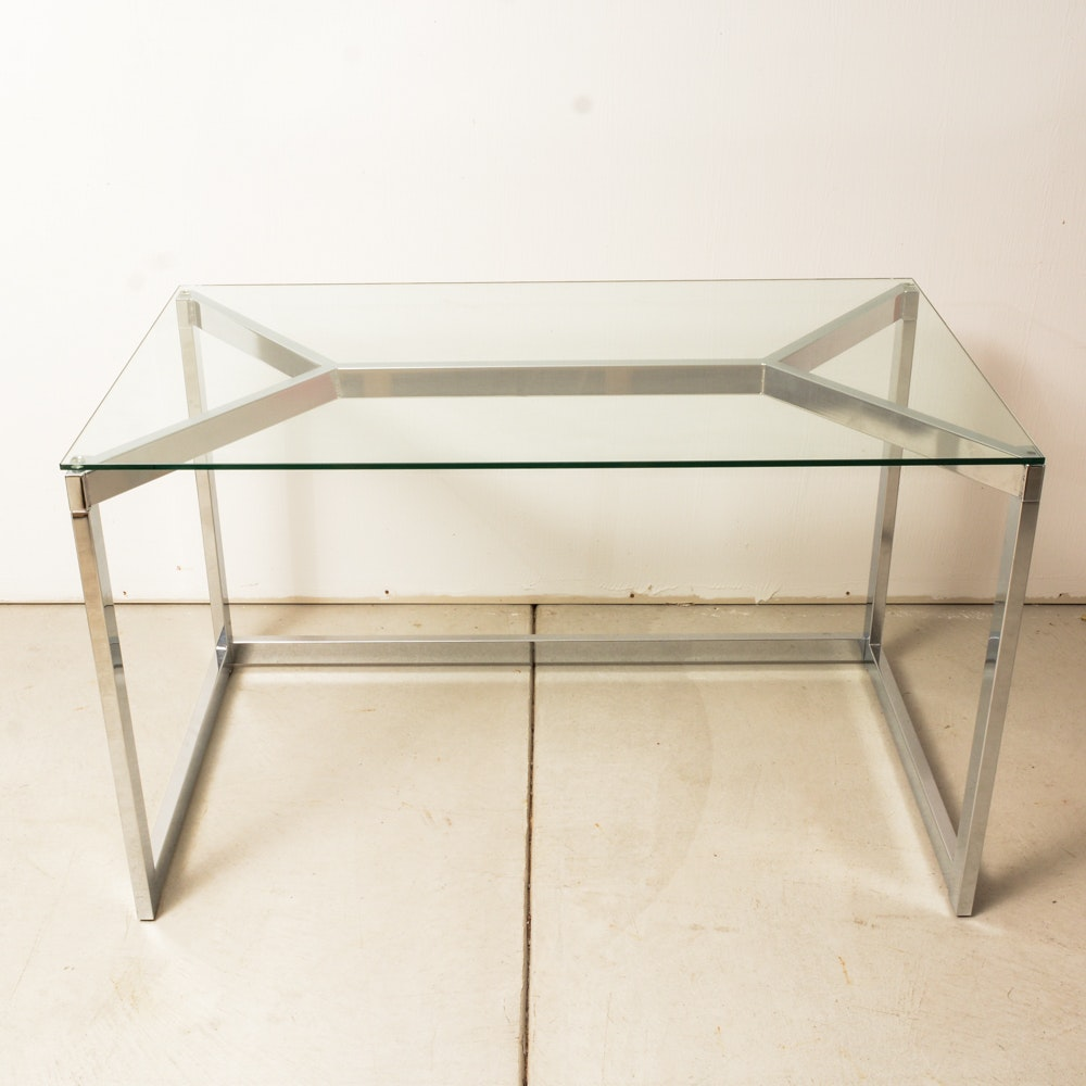 Modern Glass and Metal Writing Desk
