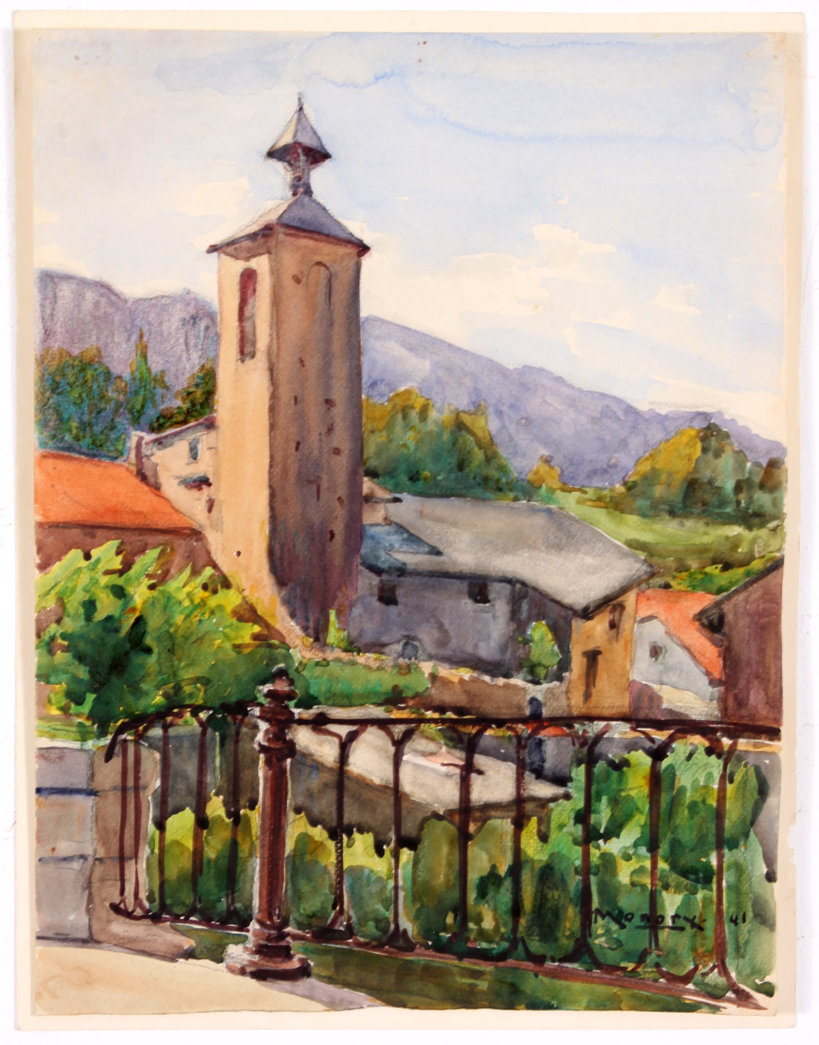 Original c. 1940s Watercolor by Raoul Monory
