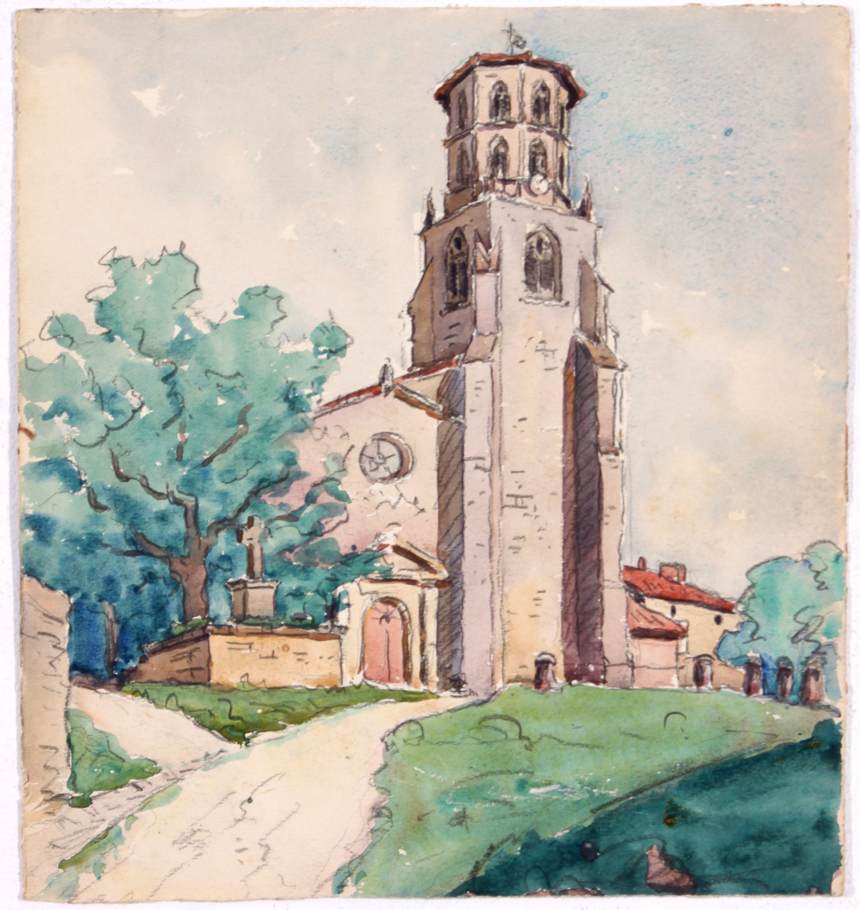 Original Church in Watercolor by Raoul Monory