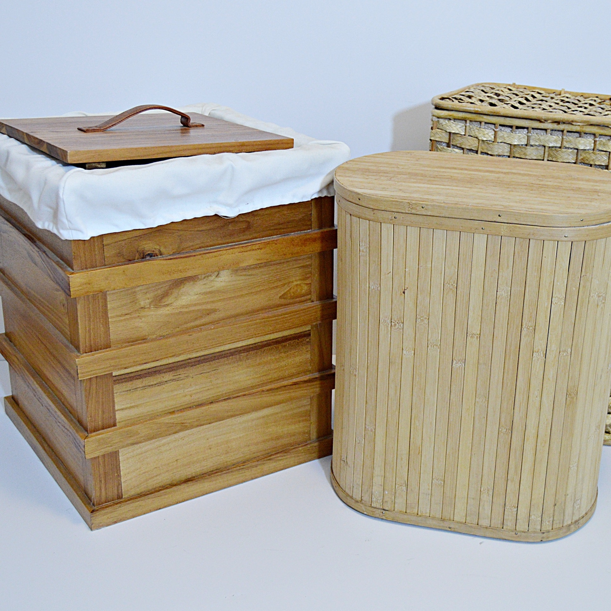 Wicker and Wood Storage Hampers