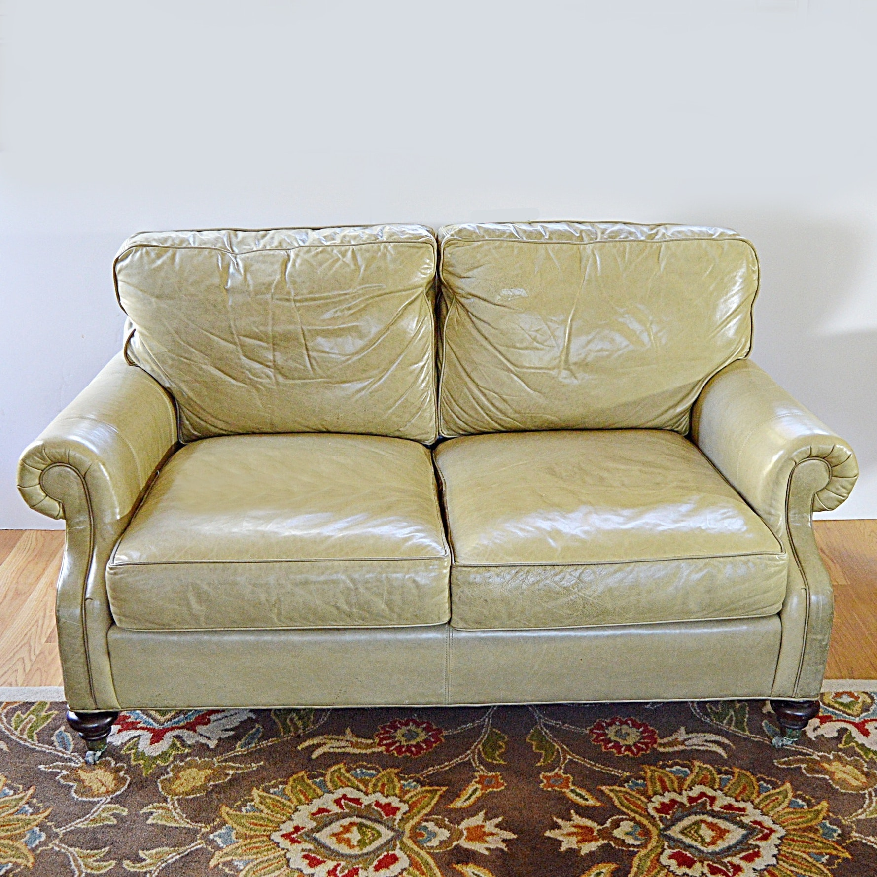Wesley Hall Beige Leather Two-Seat Sofa