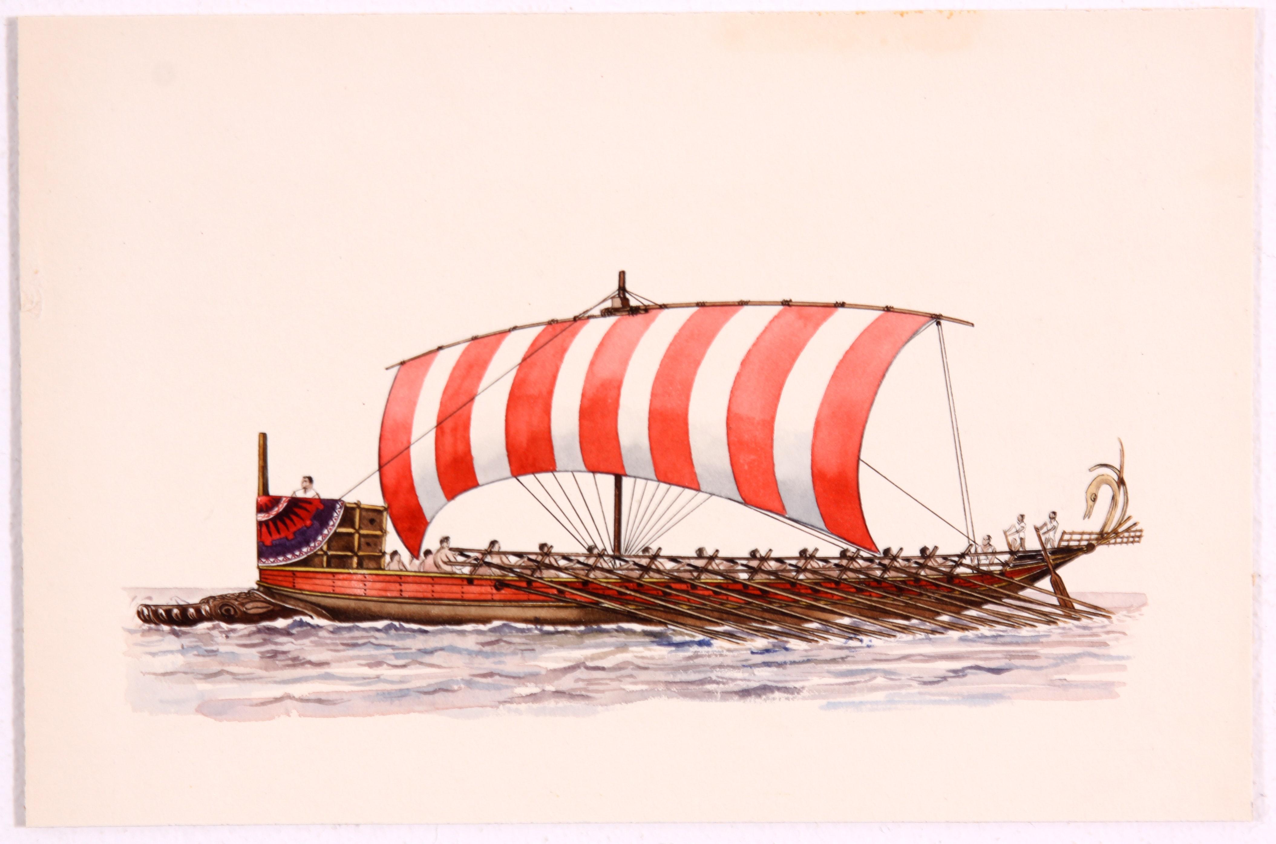 Original Greek Bireme Painting in Watercolor