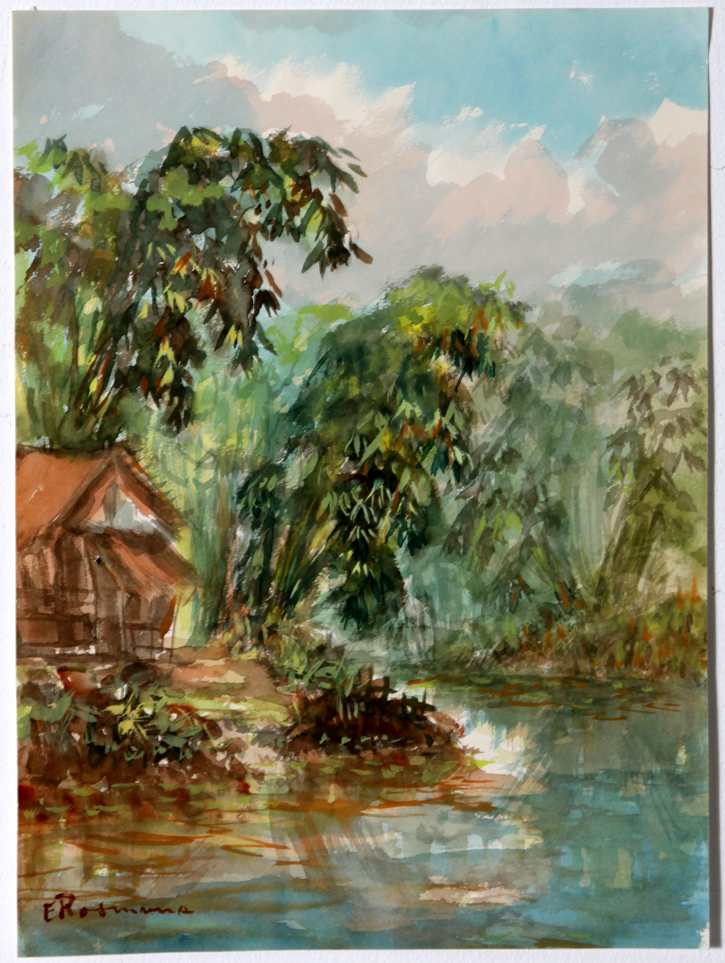 Original Signed Tropical Watercolor by Rosmana