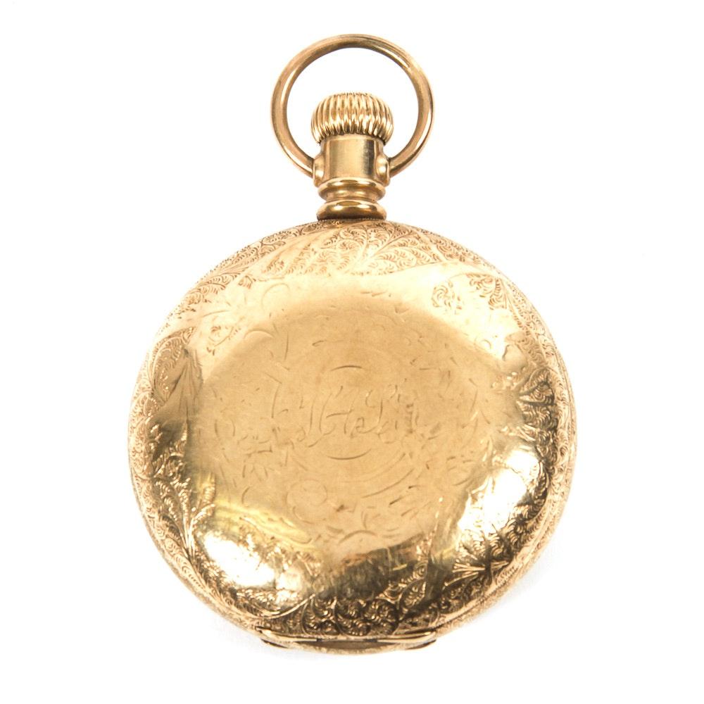 Antique Circa 1895 14K Gold Elgin Pocket Watch
