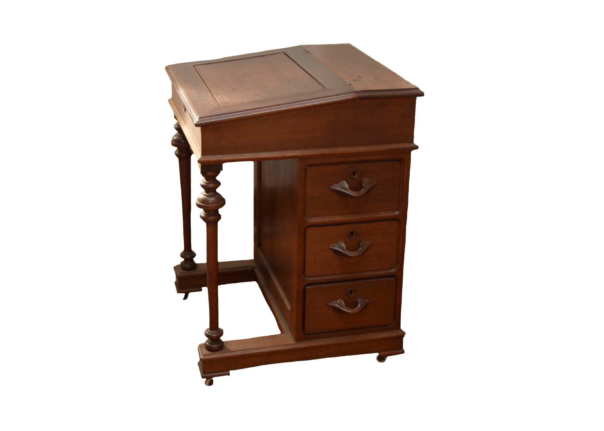 Antique Victorian Eastlake Walnut Davenport Desk