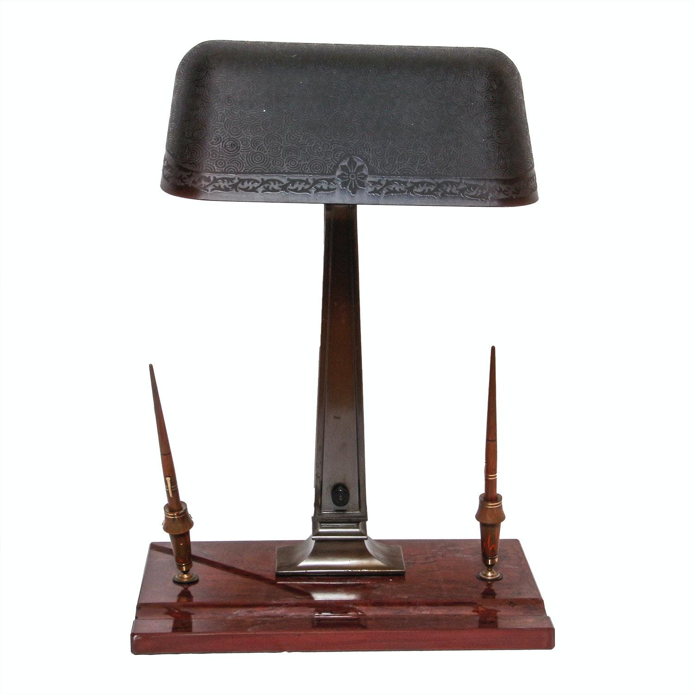 Vintage Desk Lamp with Pen Holders