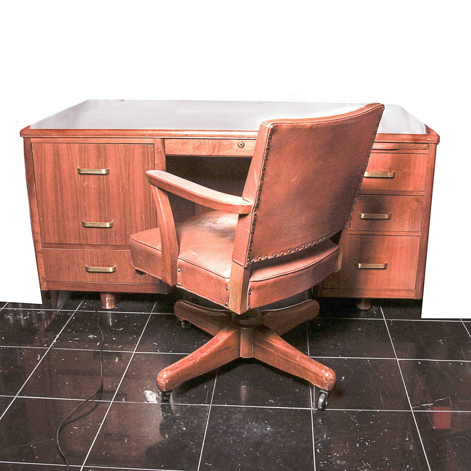 Vintage Mid-Century Walnut Desk by Baker and Swivel Office Chair