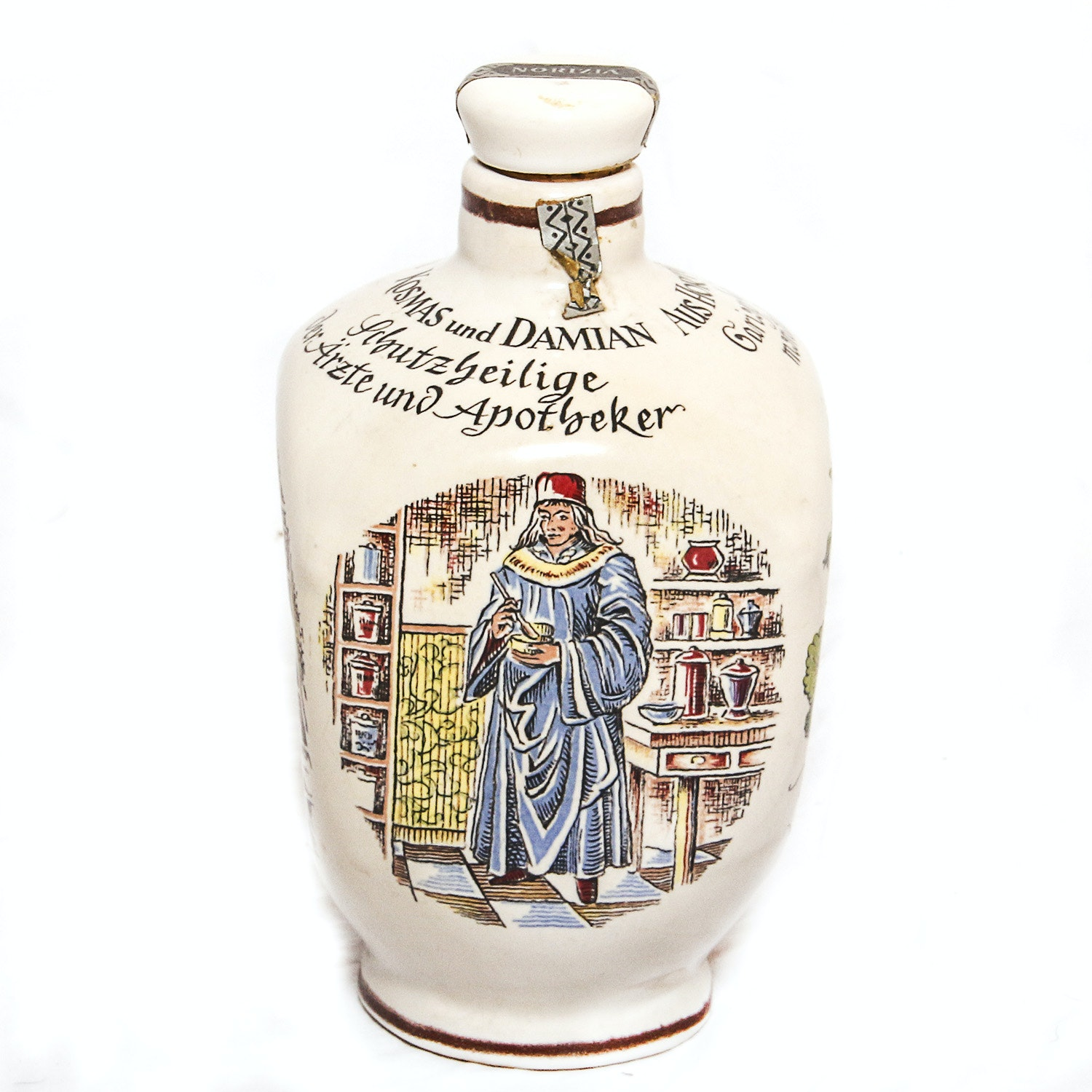 Vintage Ulmer Ceramic Norizia Wine Bottle in the Style of an Apothecary Bottle