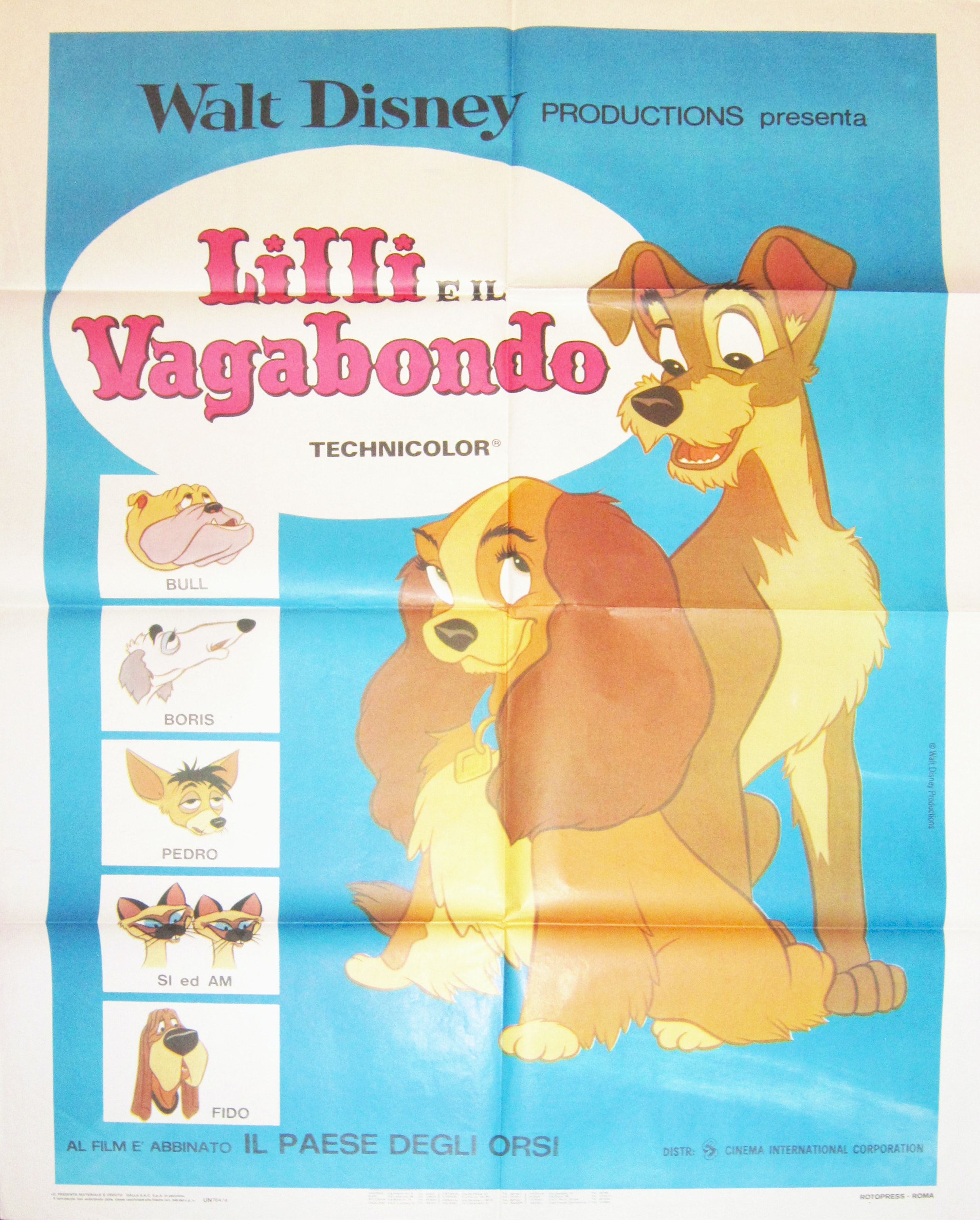 Lady & the Tramp Vintage Italian Movie Poster