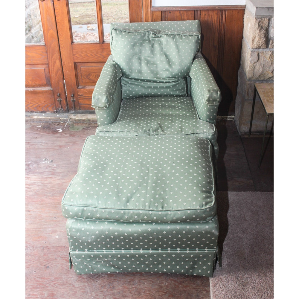 Mid Century Down Filled Chair With Ottoman ...