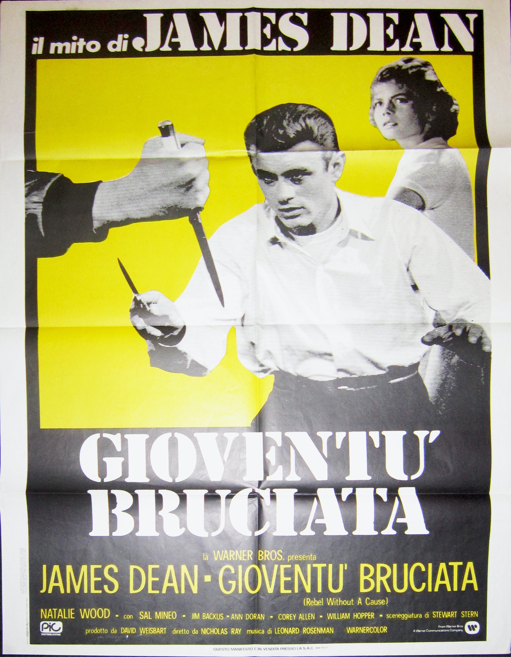 Rebel Without a Cause Vintage Italian Movie Poster