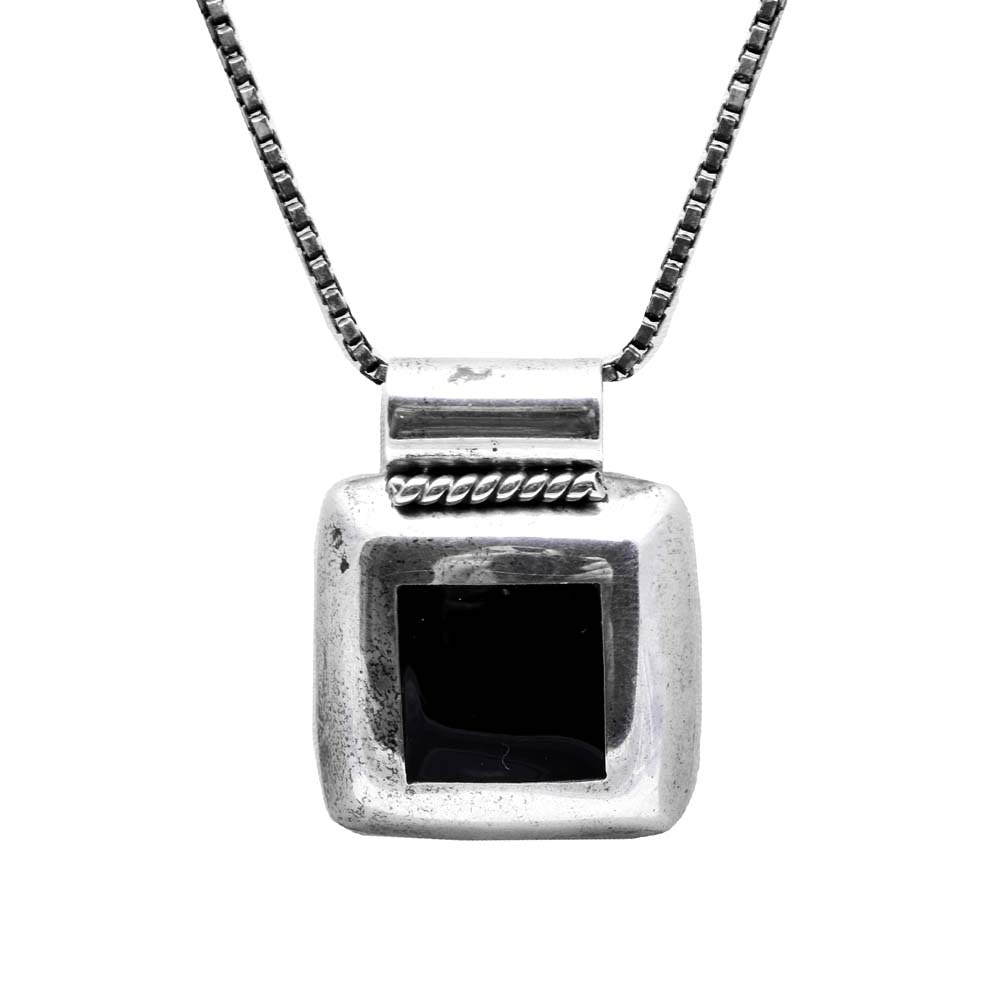 Sterling Silver and Black Onyx Pendant Necklace