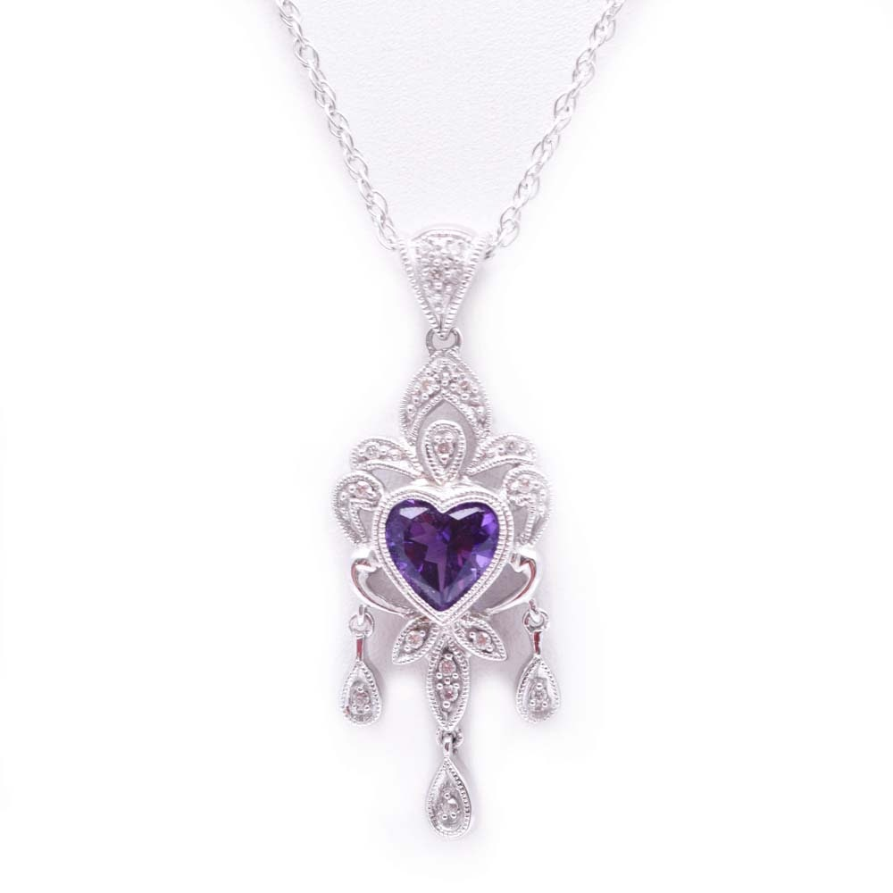14K White Gold 1.00 CTS Amethyst and Diamond Pendant Necklace