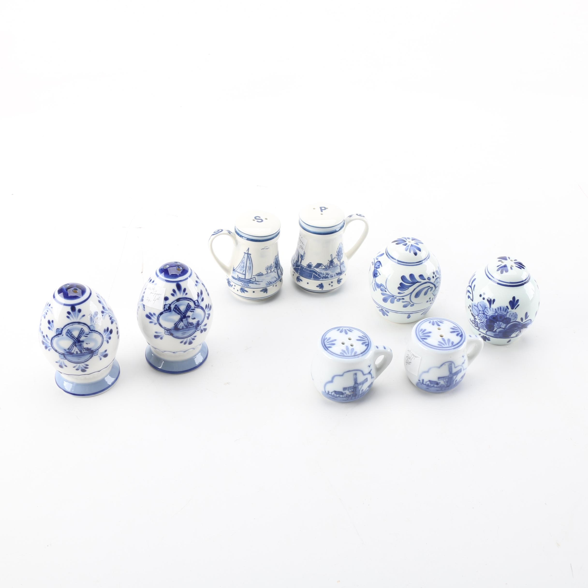 Vintage Blue and White Porcelain Condiment Shakers