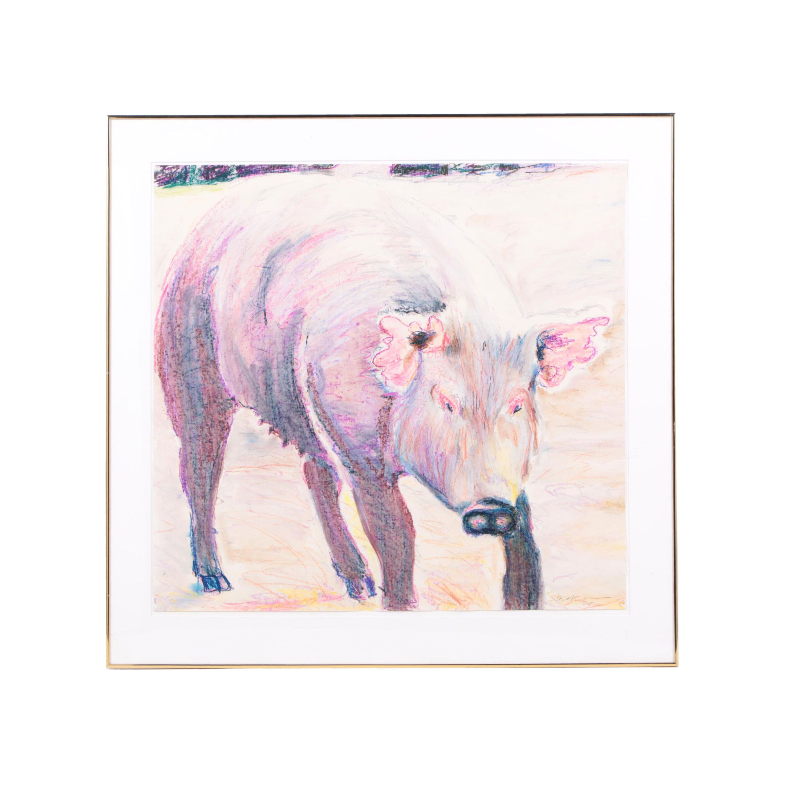 "Billy Sullivan 1978 Oil Pastel Drawing on Paper ""Pink Eared Pig"""