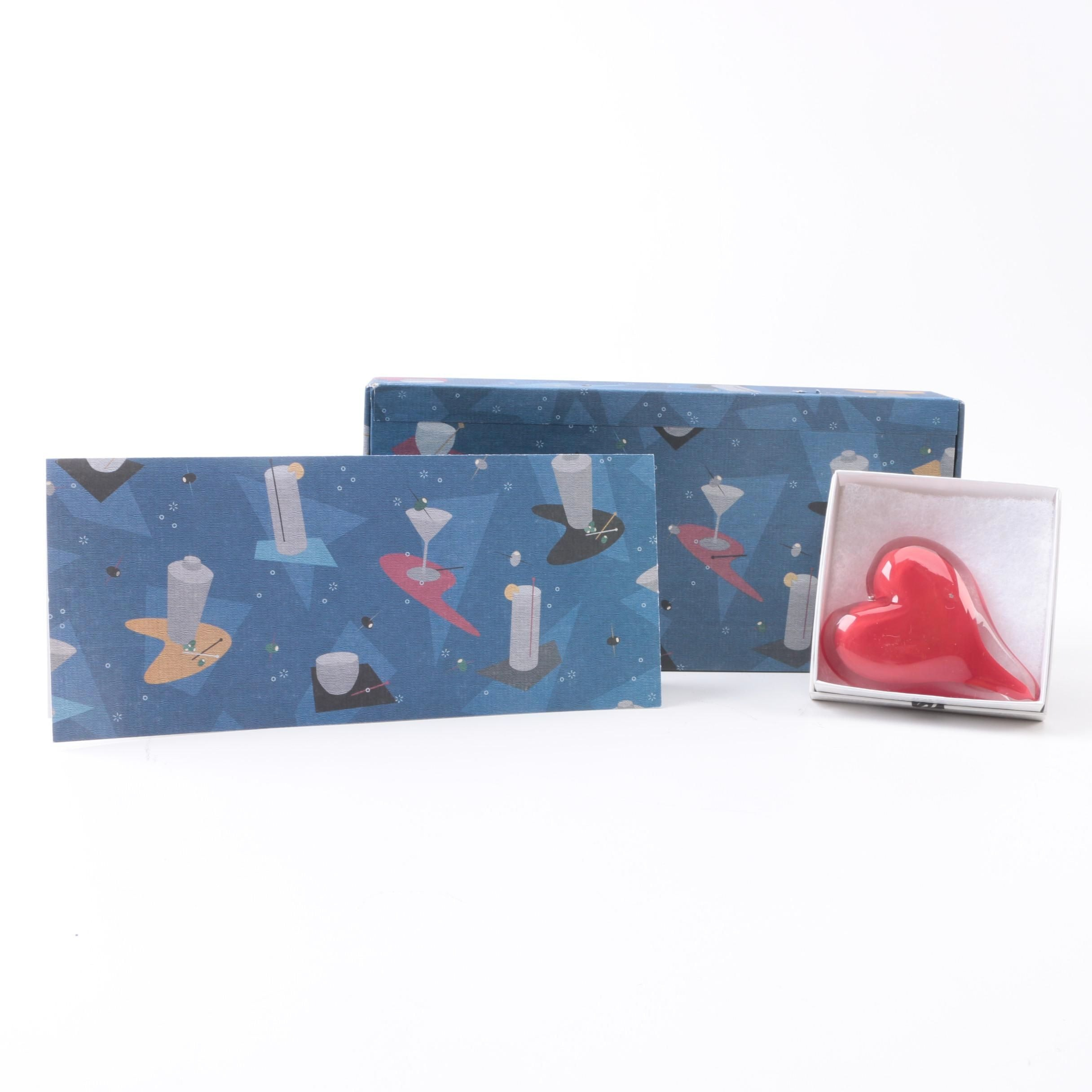 Coradetti Glass Heart and Box of Greeting Cards
