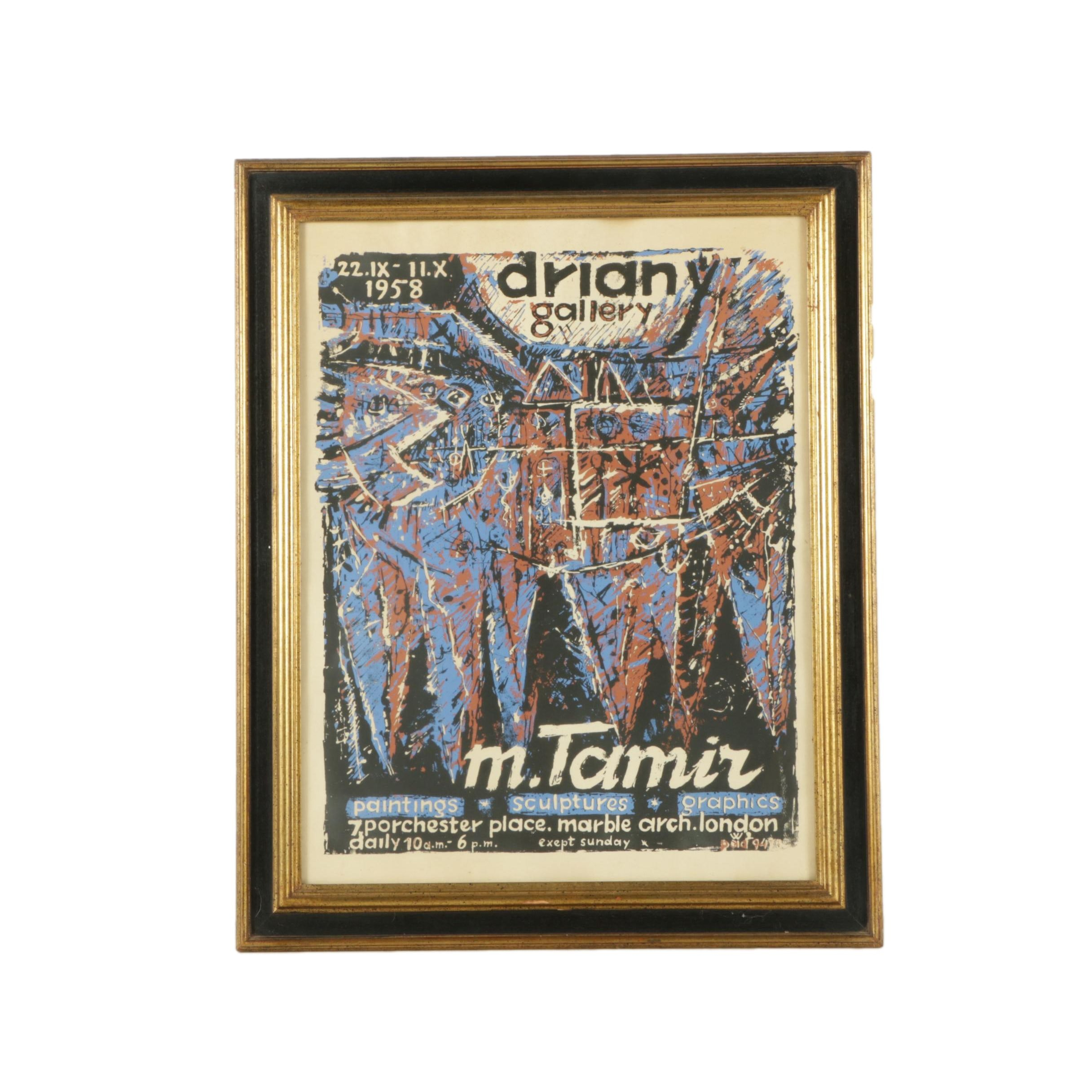 "1958 ""M. Tamir"" Driany Gallery Exhibition Poster"