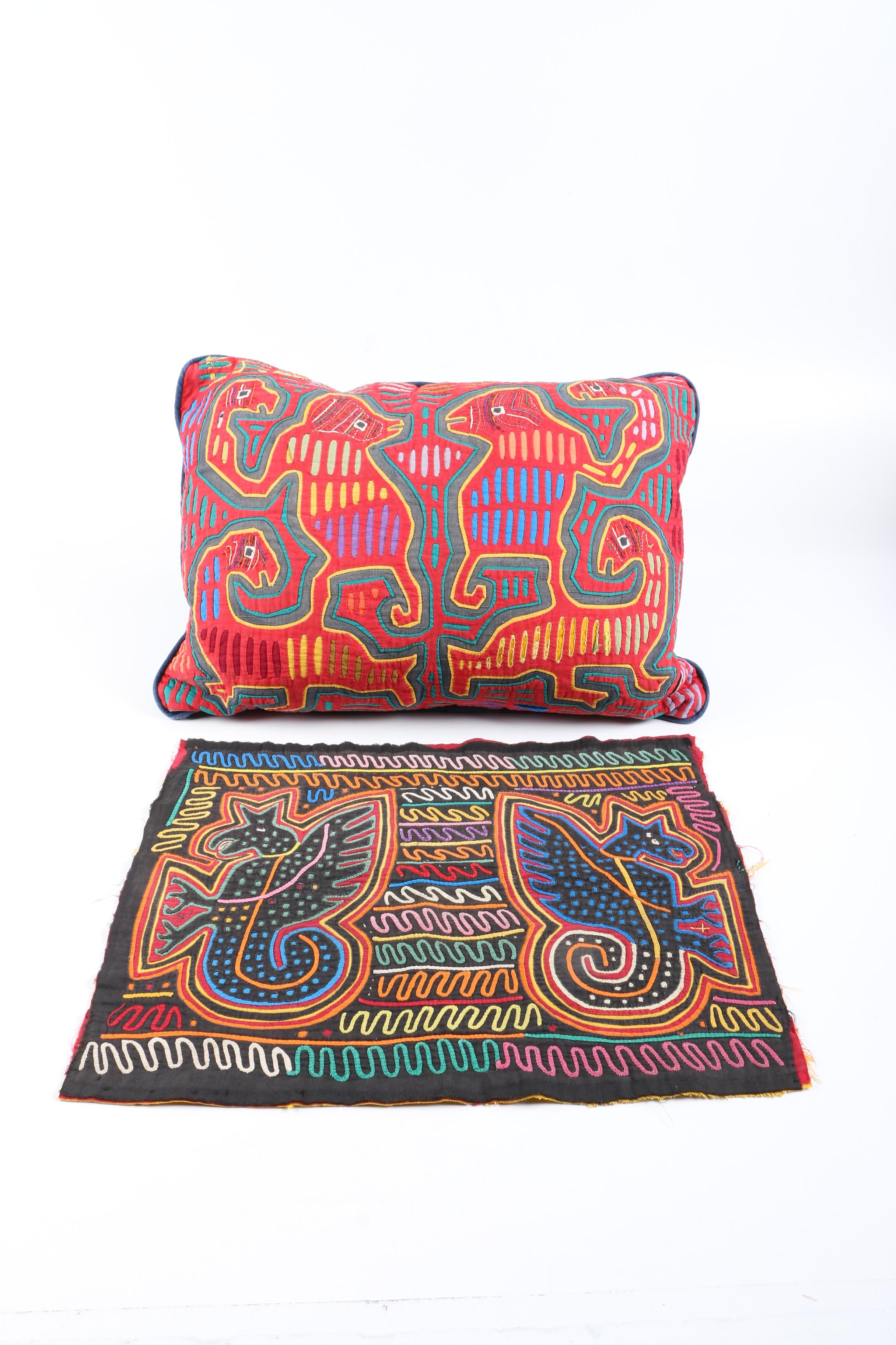 Panamanian Mola Style Pillow and Textile