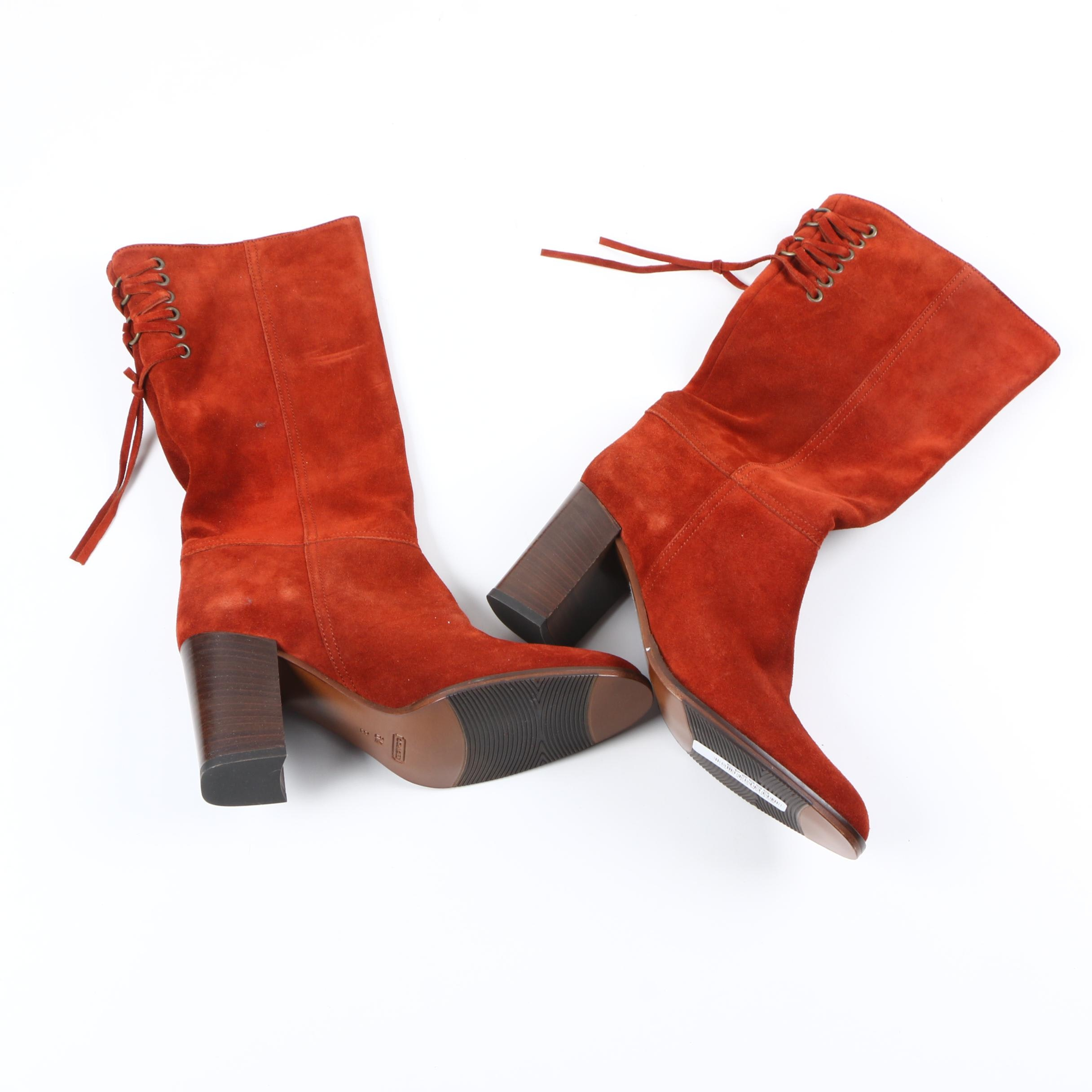 Coach Gotham City Burnt Orange Suede Boots
