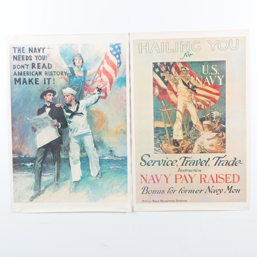 Pair Of Offset Lithographs Prints Of Vintage Navy Recruitment