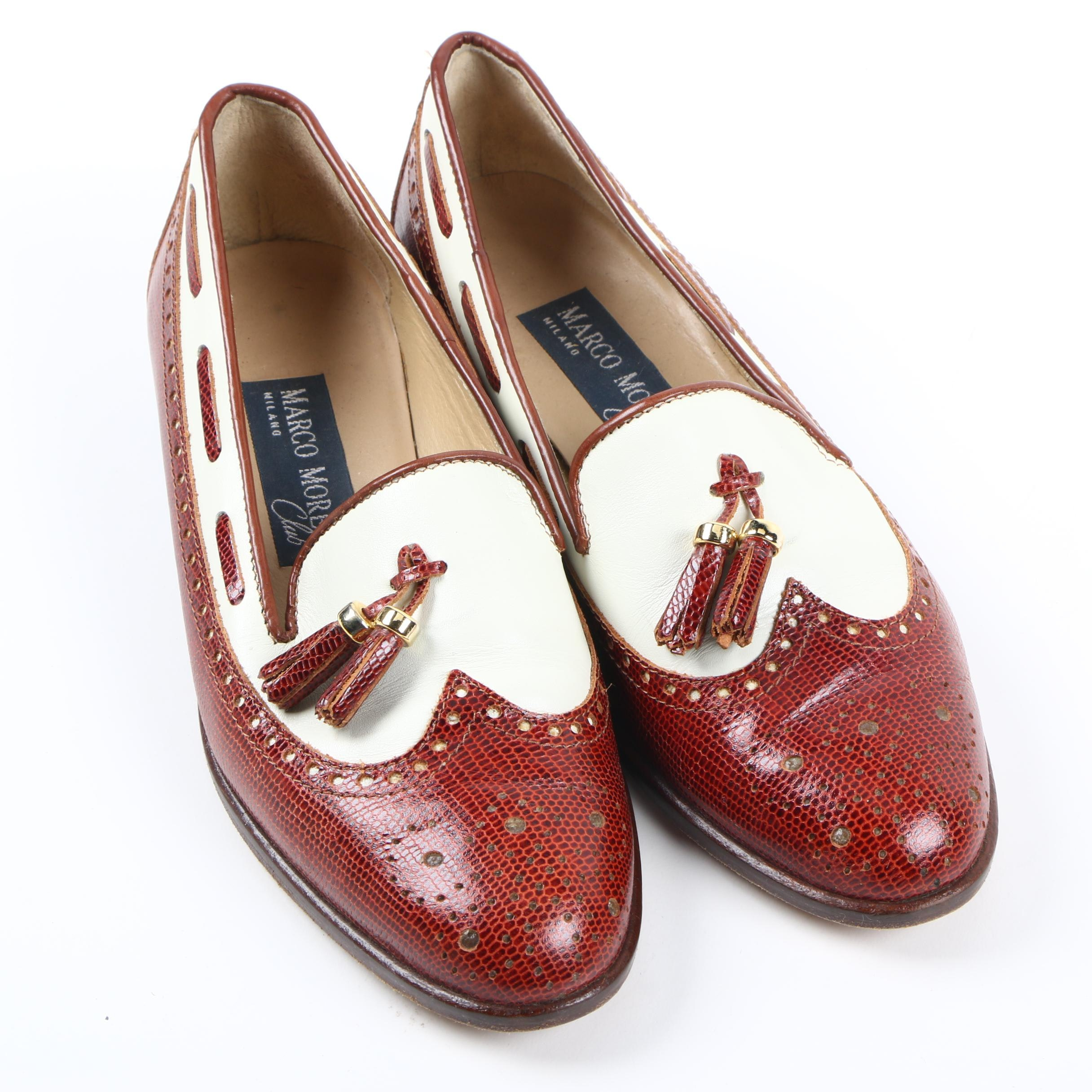 Women's Marco Moreo Club Lizard Skin Leather Loafers