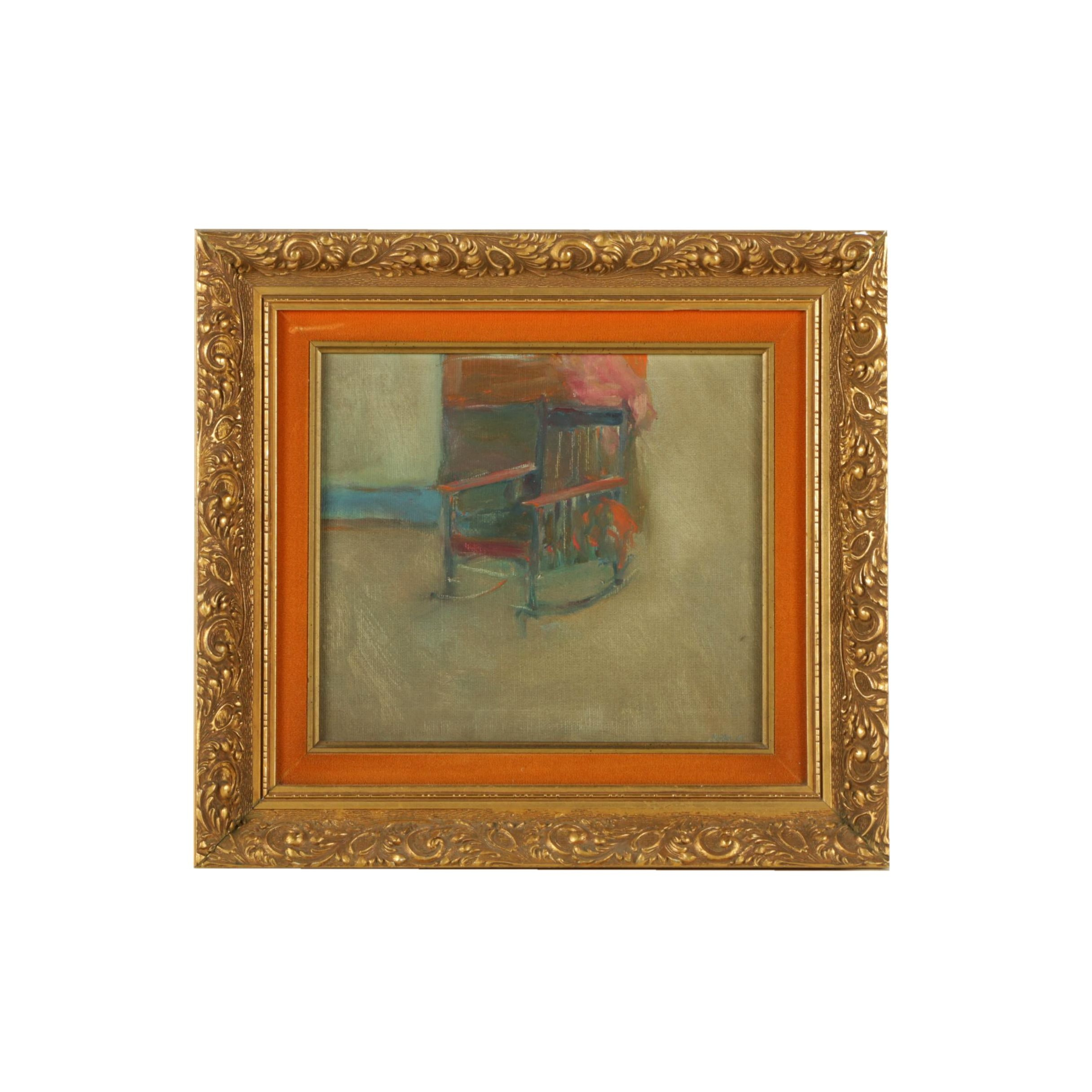 Marsh Oil Painting on Canvas of a Rocking Chair